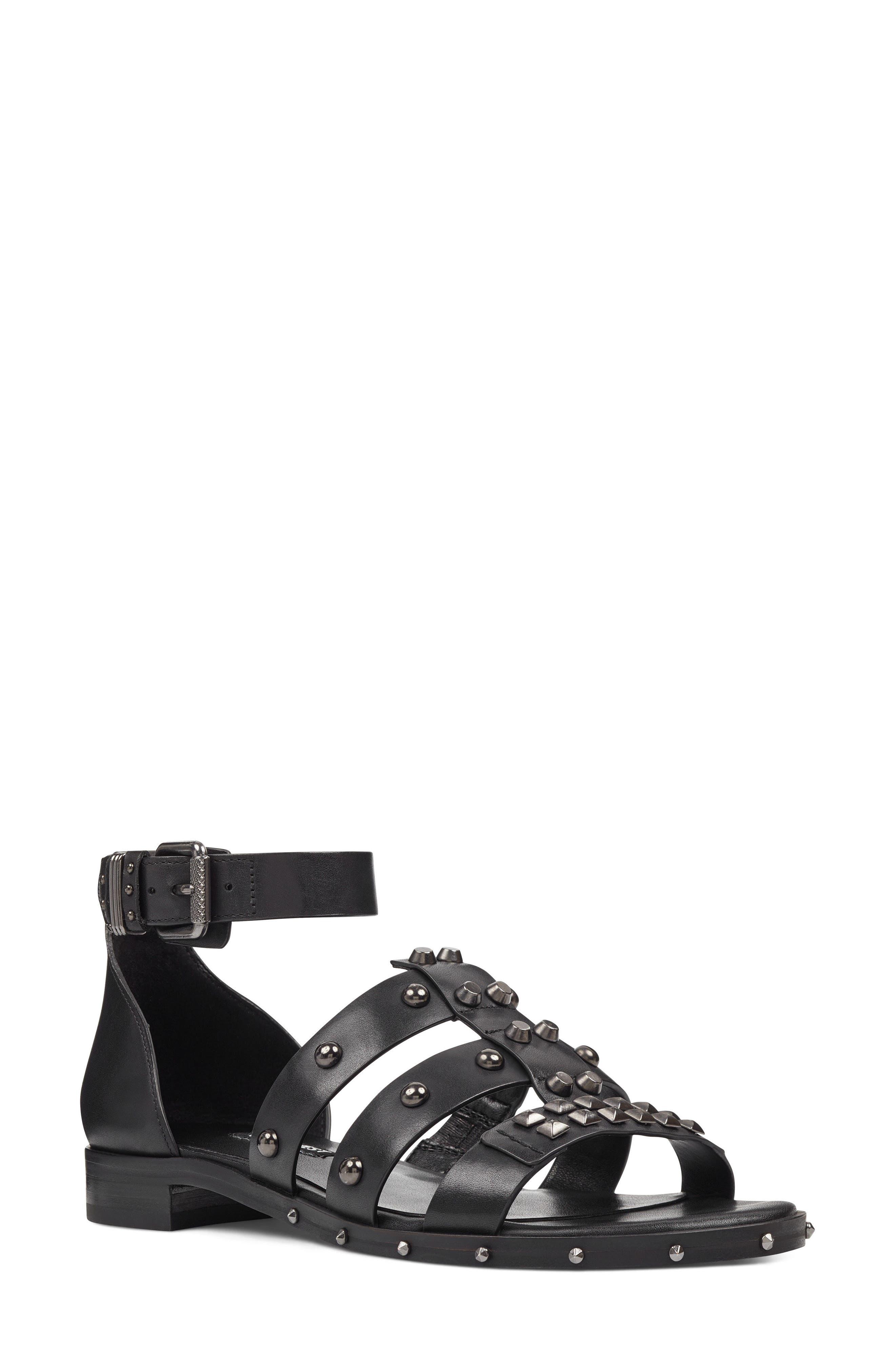 Corisande Sandal,                         Main,                         color, BLACK LEATHER
