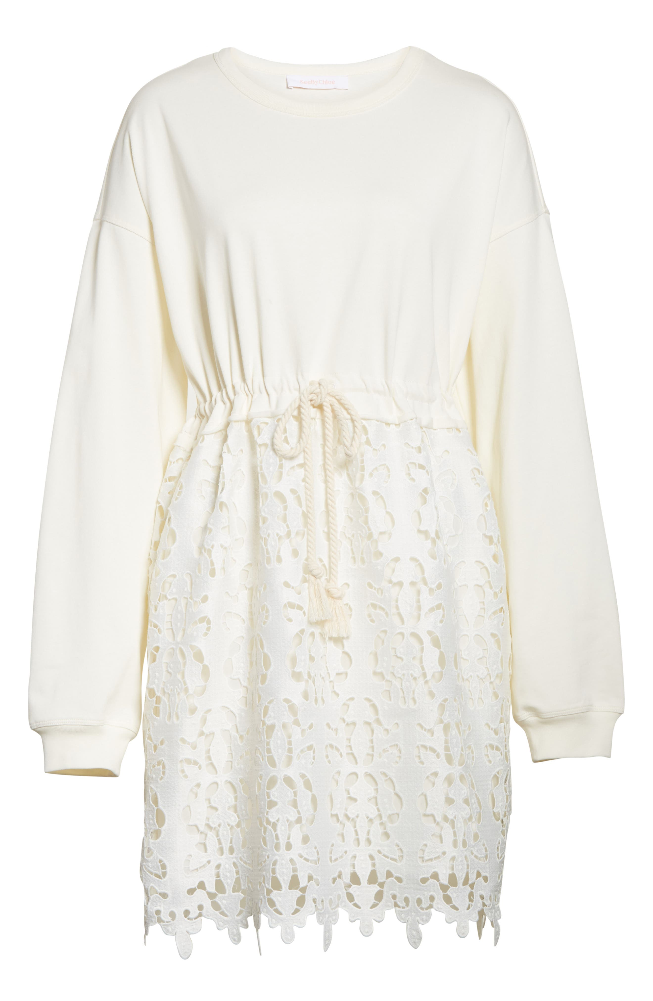 SEE BY CHLOÉ,                             Lace Skirt Sweatshirt Dress,                             Alternate thumbnail 6, color,                             101