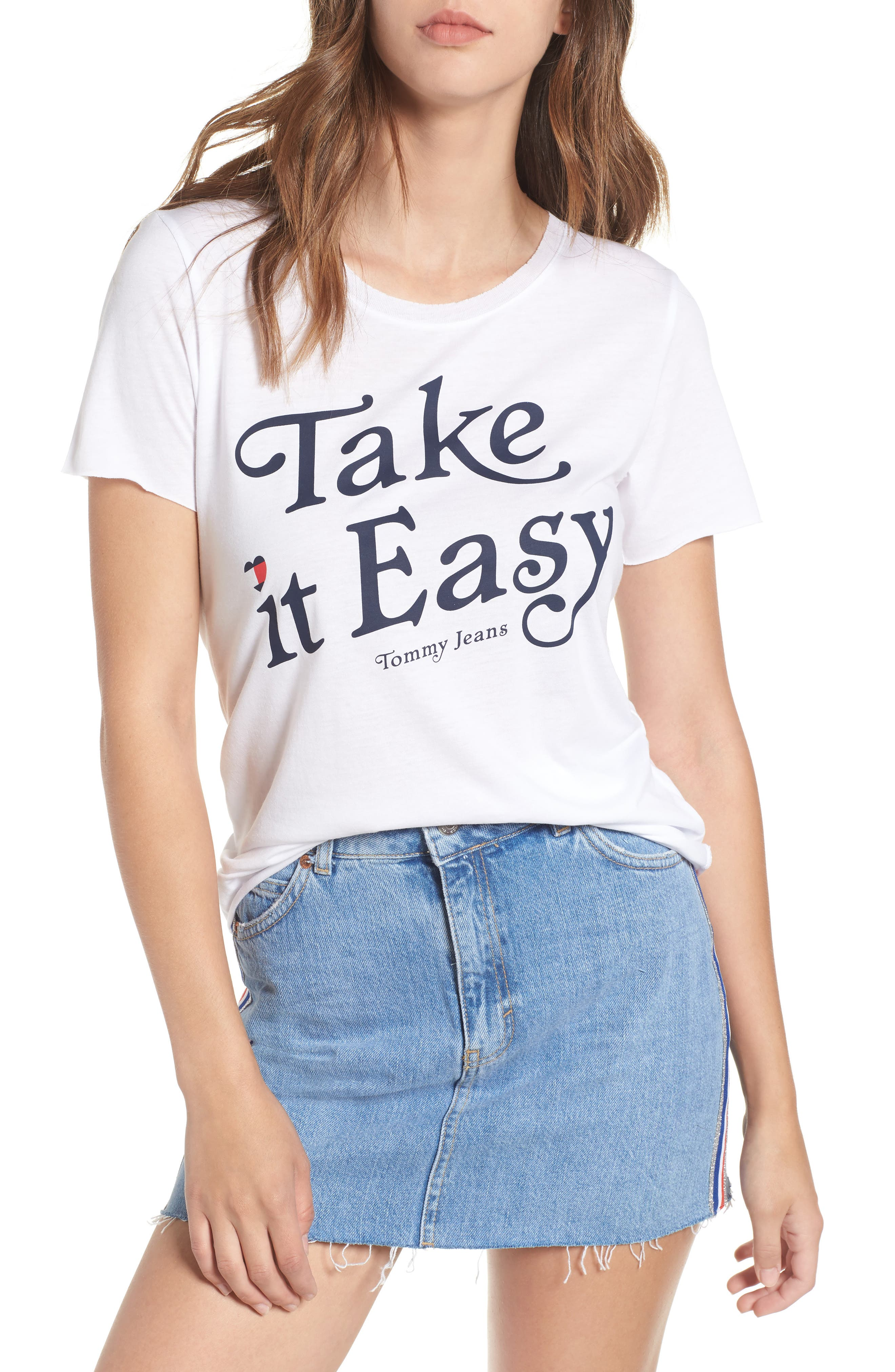 TJW Take It Easy Graphic Tee,                             Main thumbnail 1, color,                             BRIGHT WHITE