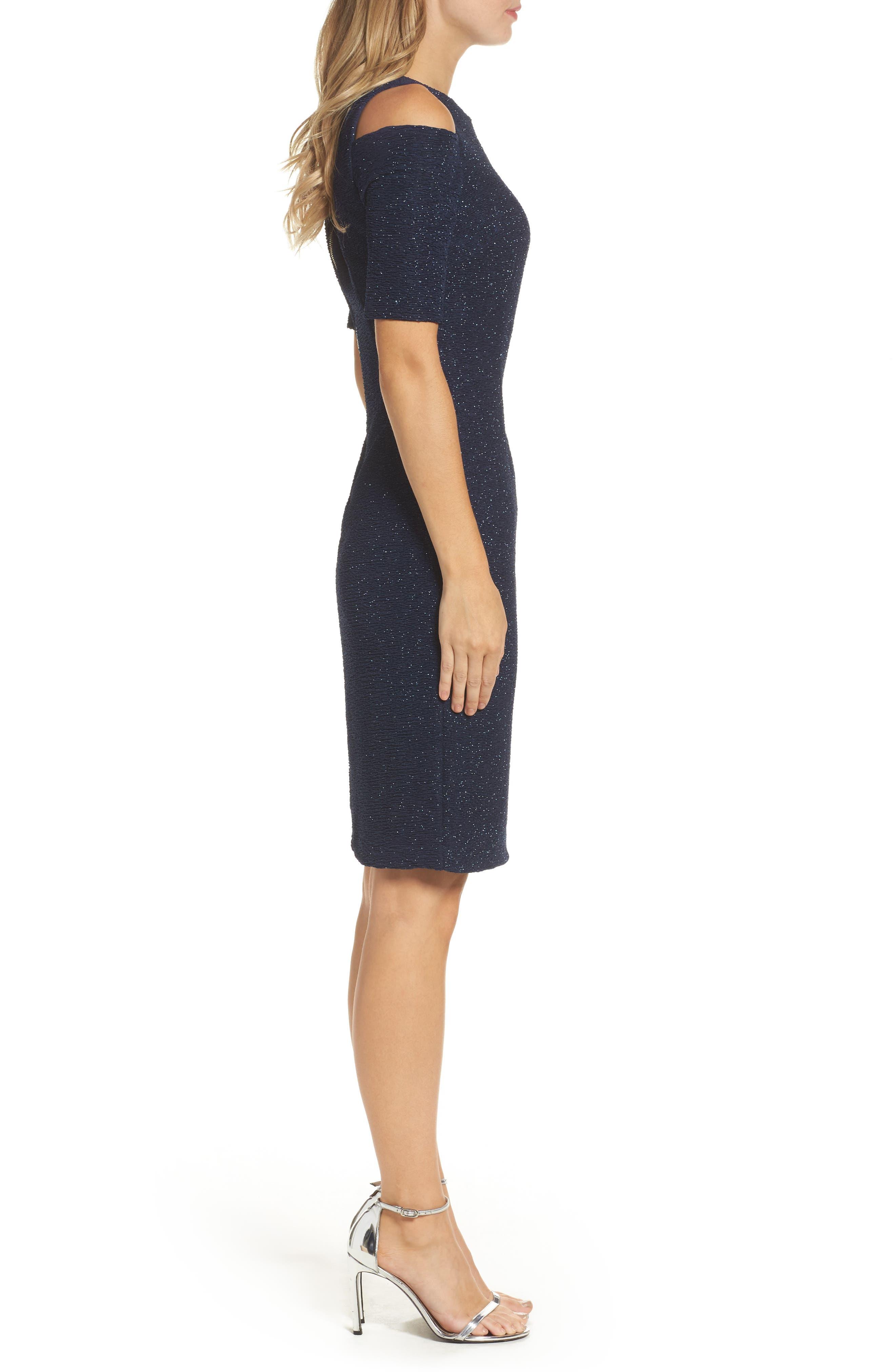 Cold Shoulder Sparkle Knit Sheath Dress,                             Alternate thumbnail 6, color,