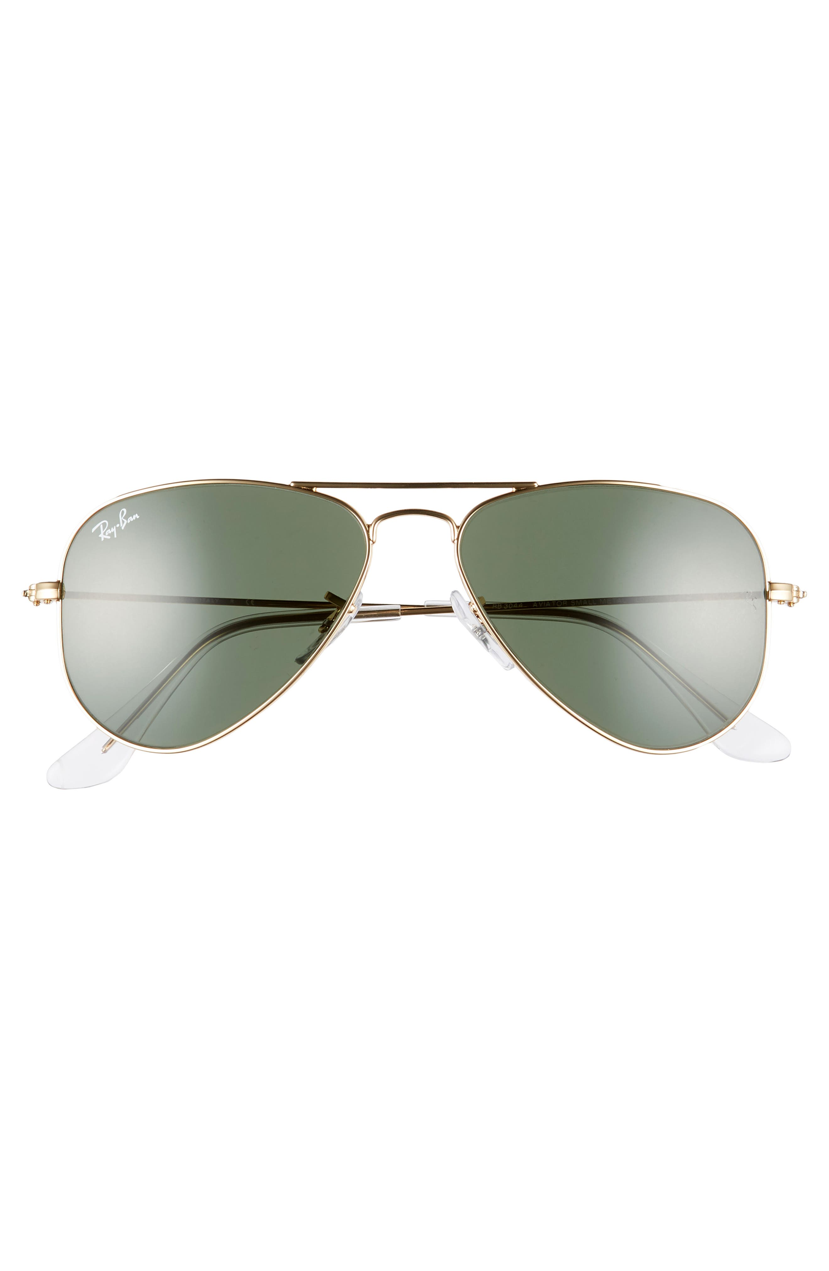52mm Extra Small Aviator Sunglasses,                             Alternate thumbnail 3, color,                             GOLD/ GREEN SOLID