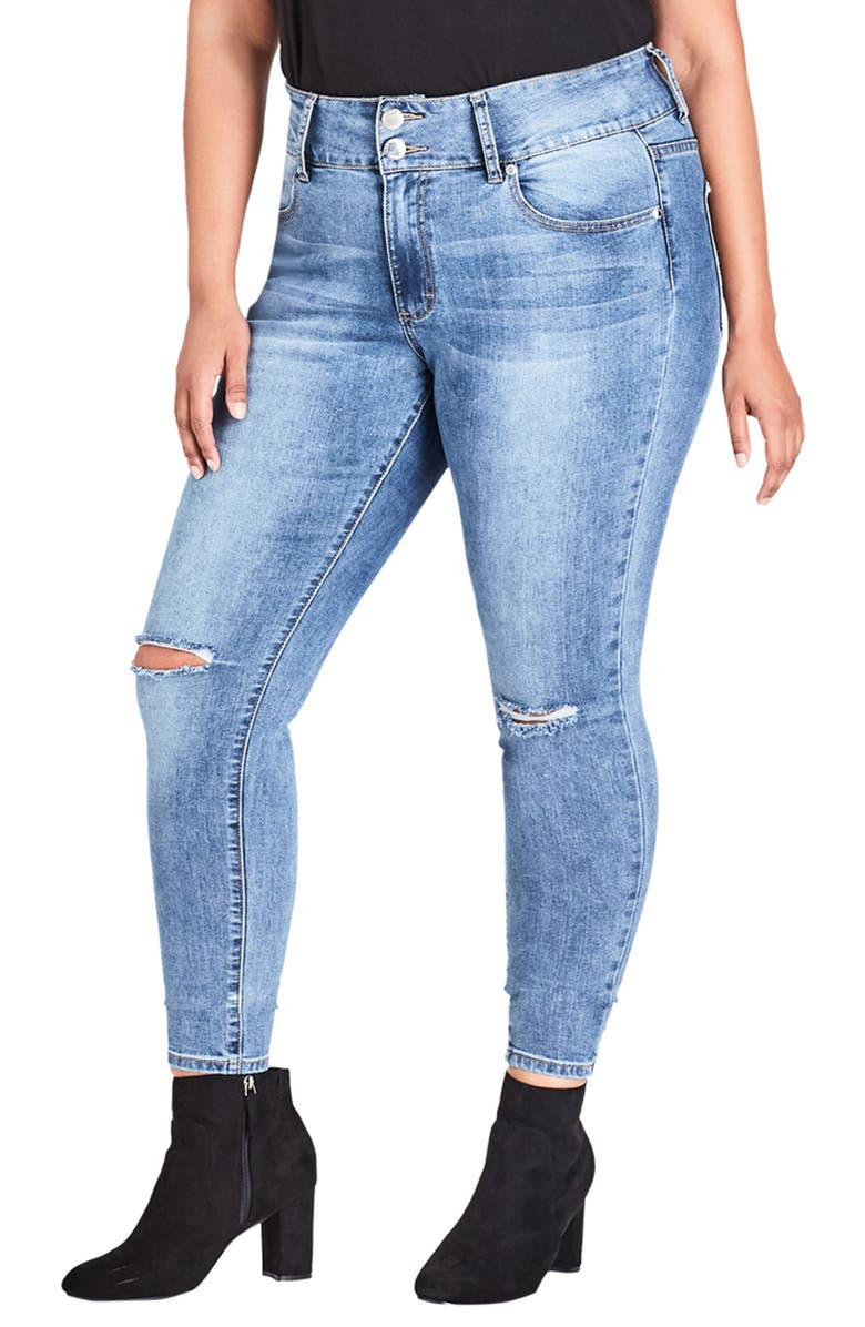 City Chic HARLEY RIBBED SKINNY JEANS