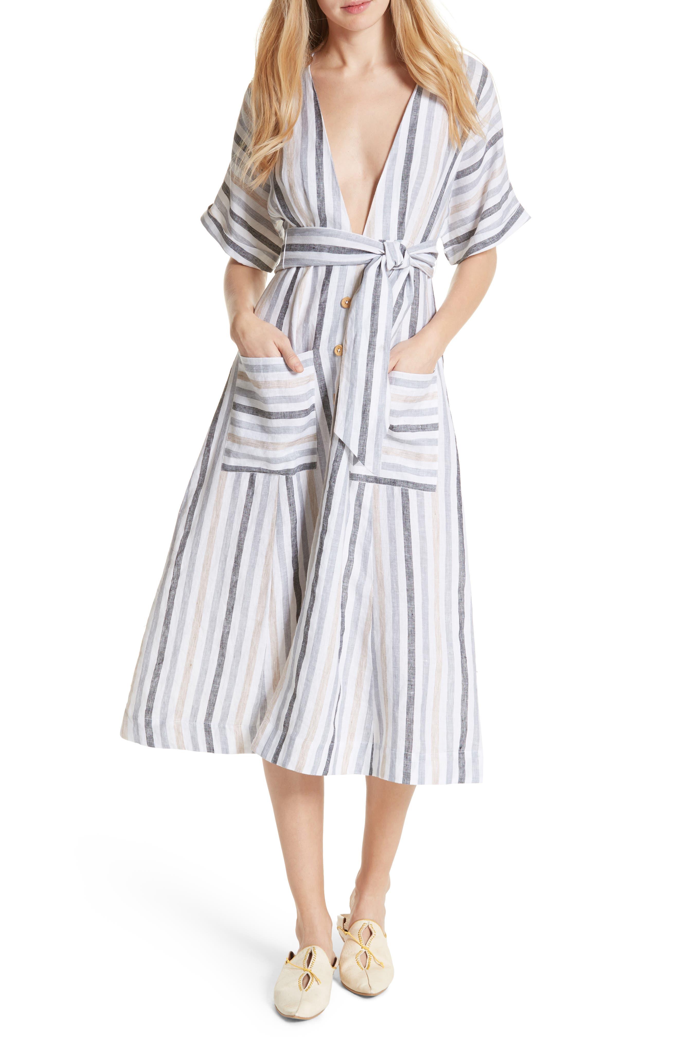Monday Stripe Linen Blend Midi Dress,                             Alternate thumbnail 9, color,