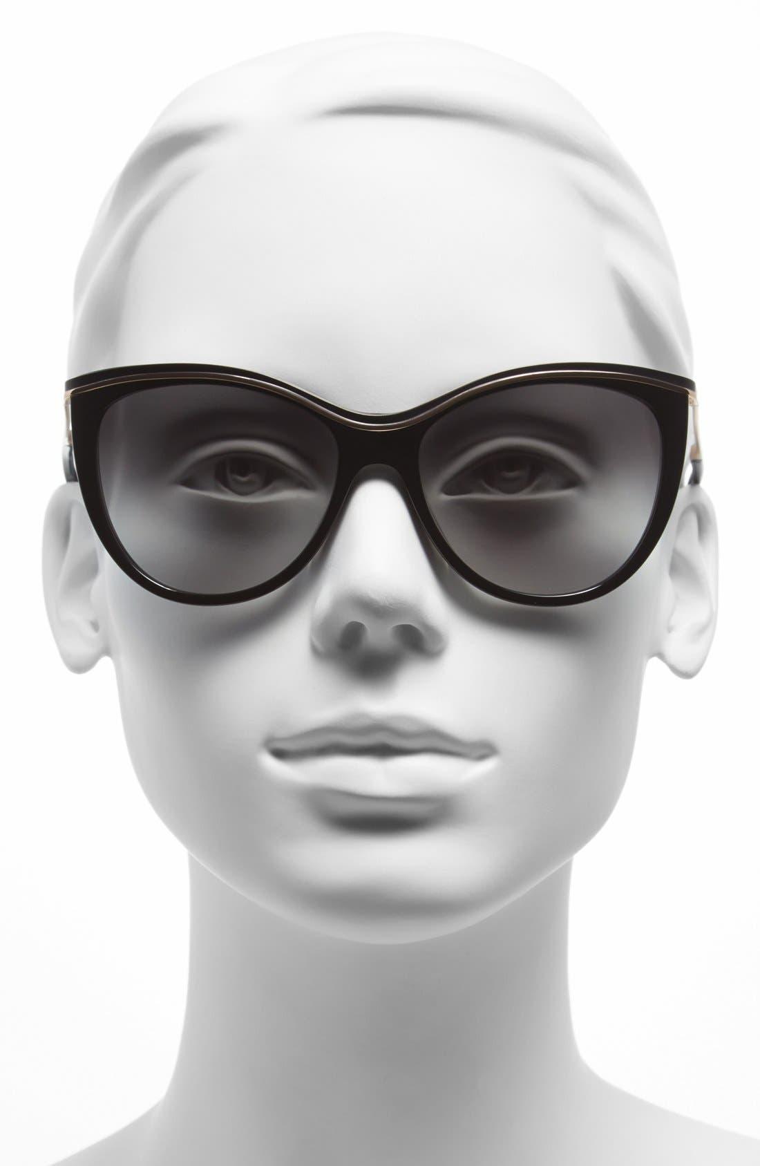 KATE SPADE NEW YORK,                             56mm cat eye sunglasses,                             Alternate thumbnail 2, color,                             001
