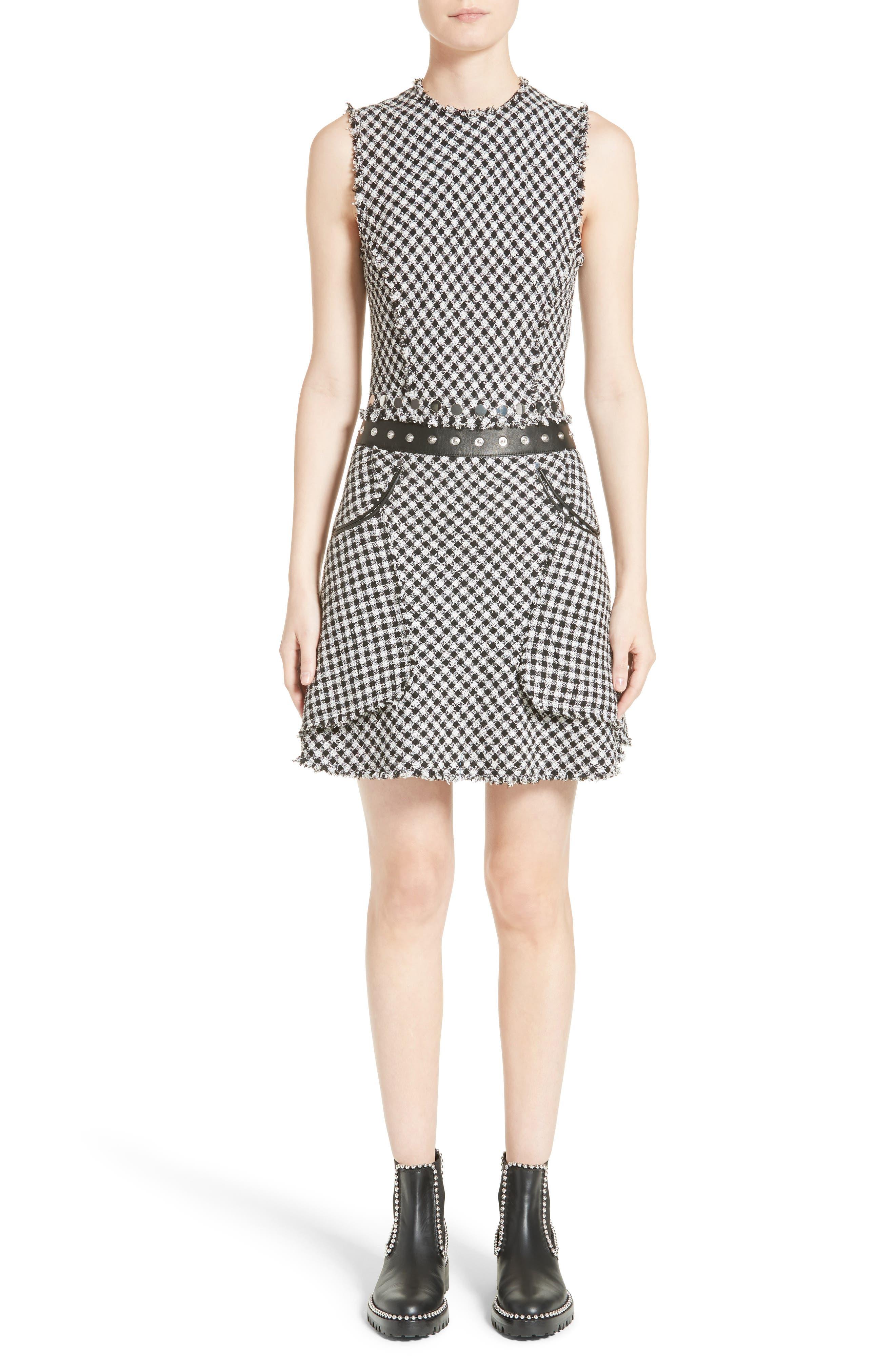Check Tweed Dress,                             Main thumbnail 1, color,                             001