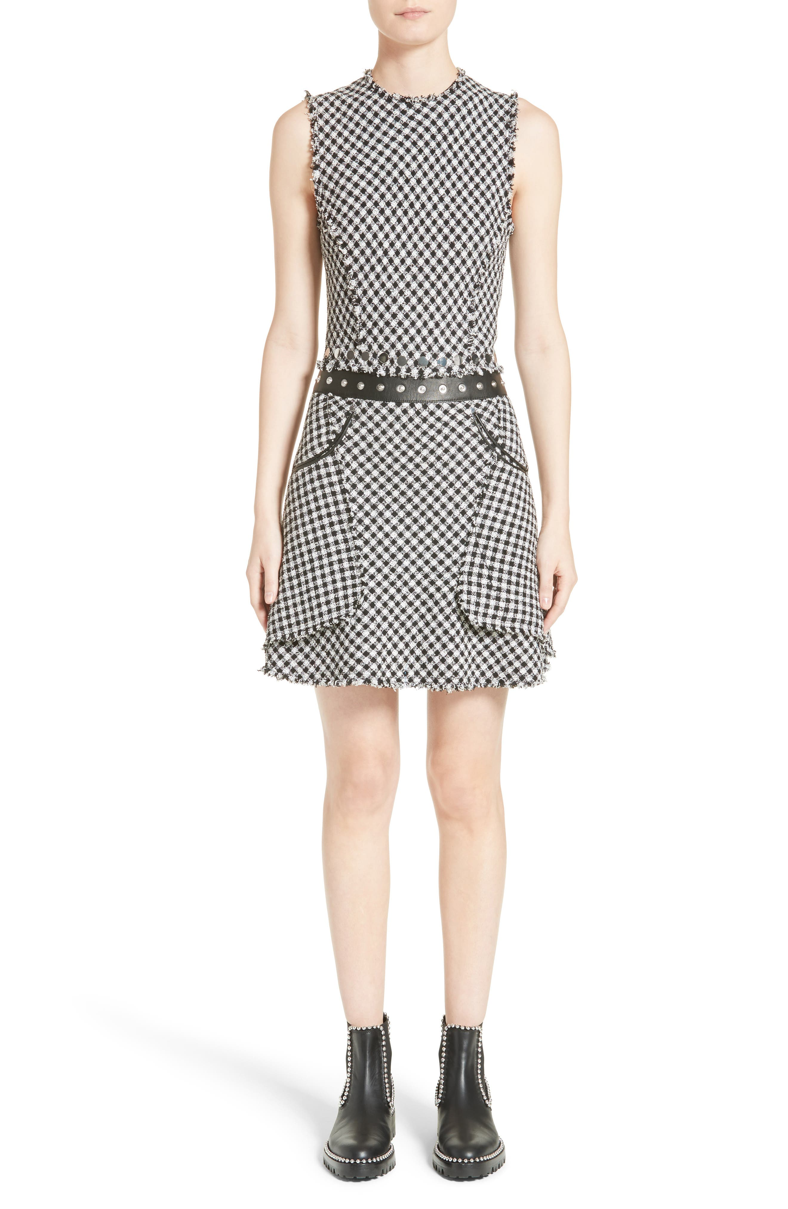 Check Tweed Dress, Main, color, 001