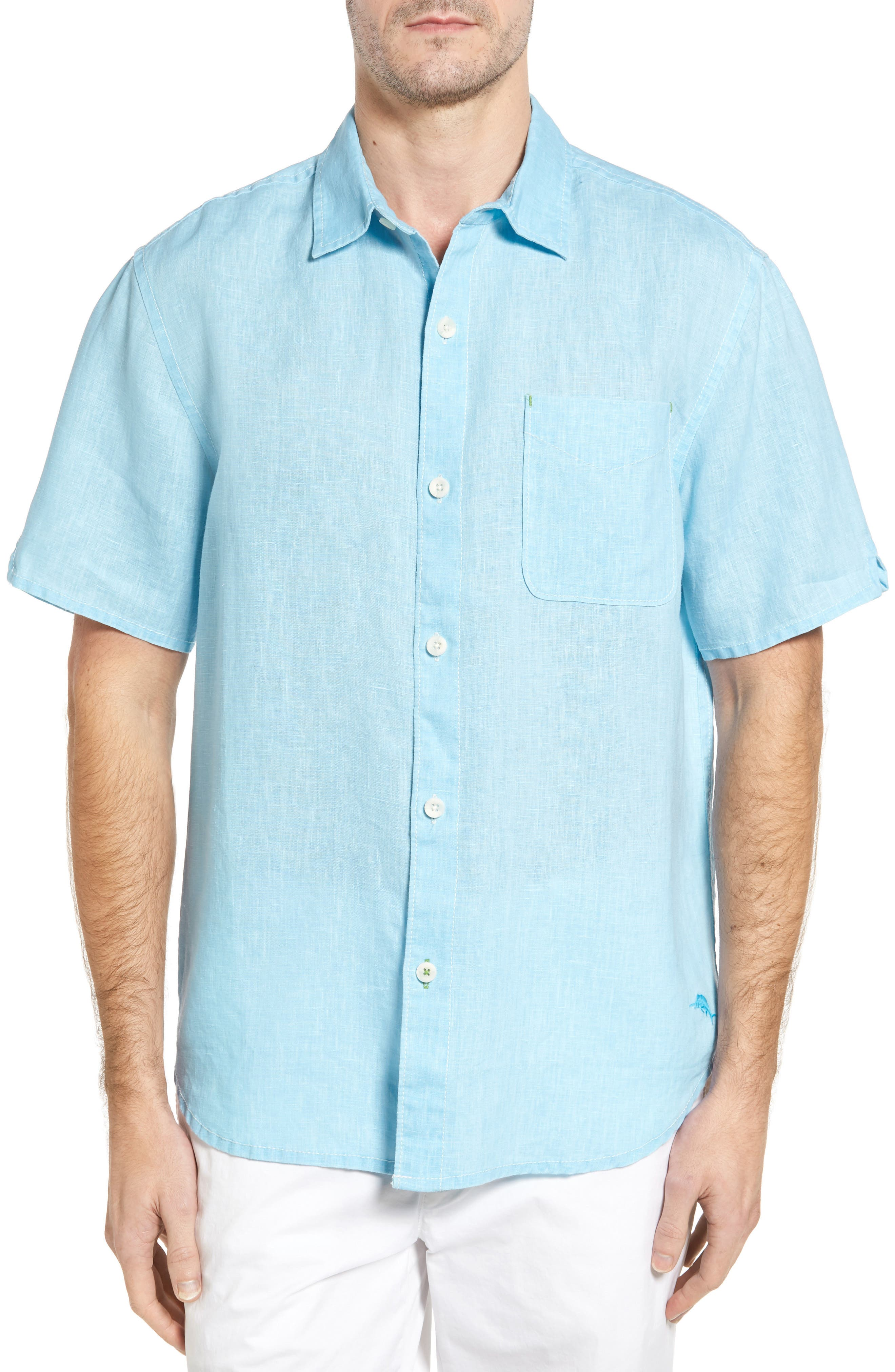 Seaglass Breezer Short Sleeve Linen Sport Shirt,                             Main thumbnail 15, color,