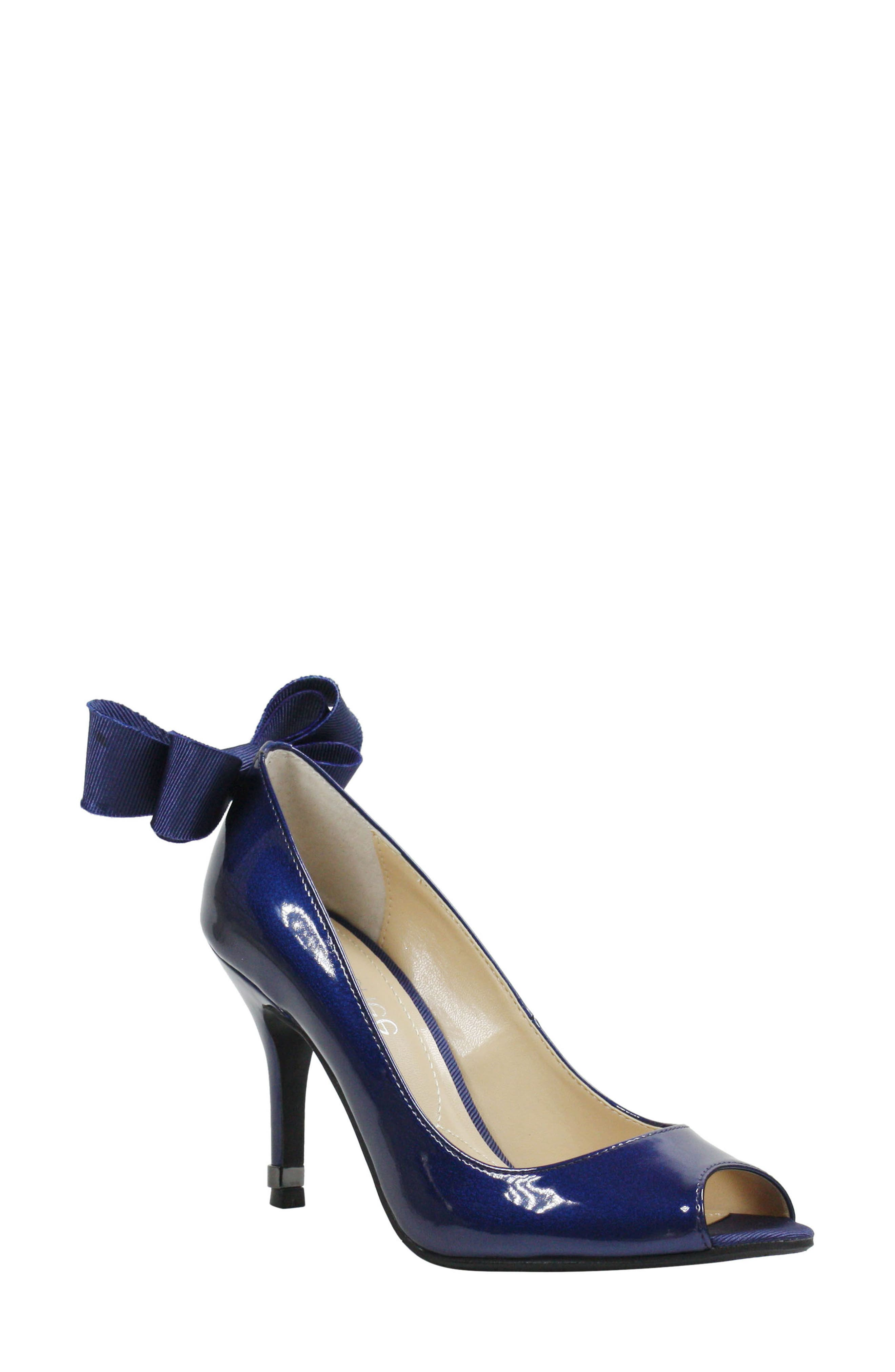 Ellasee Bow Peep Toe Pump,                         Main,                         color, NAVY FAUX LEATHER