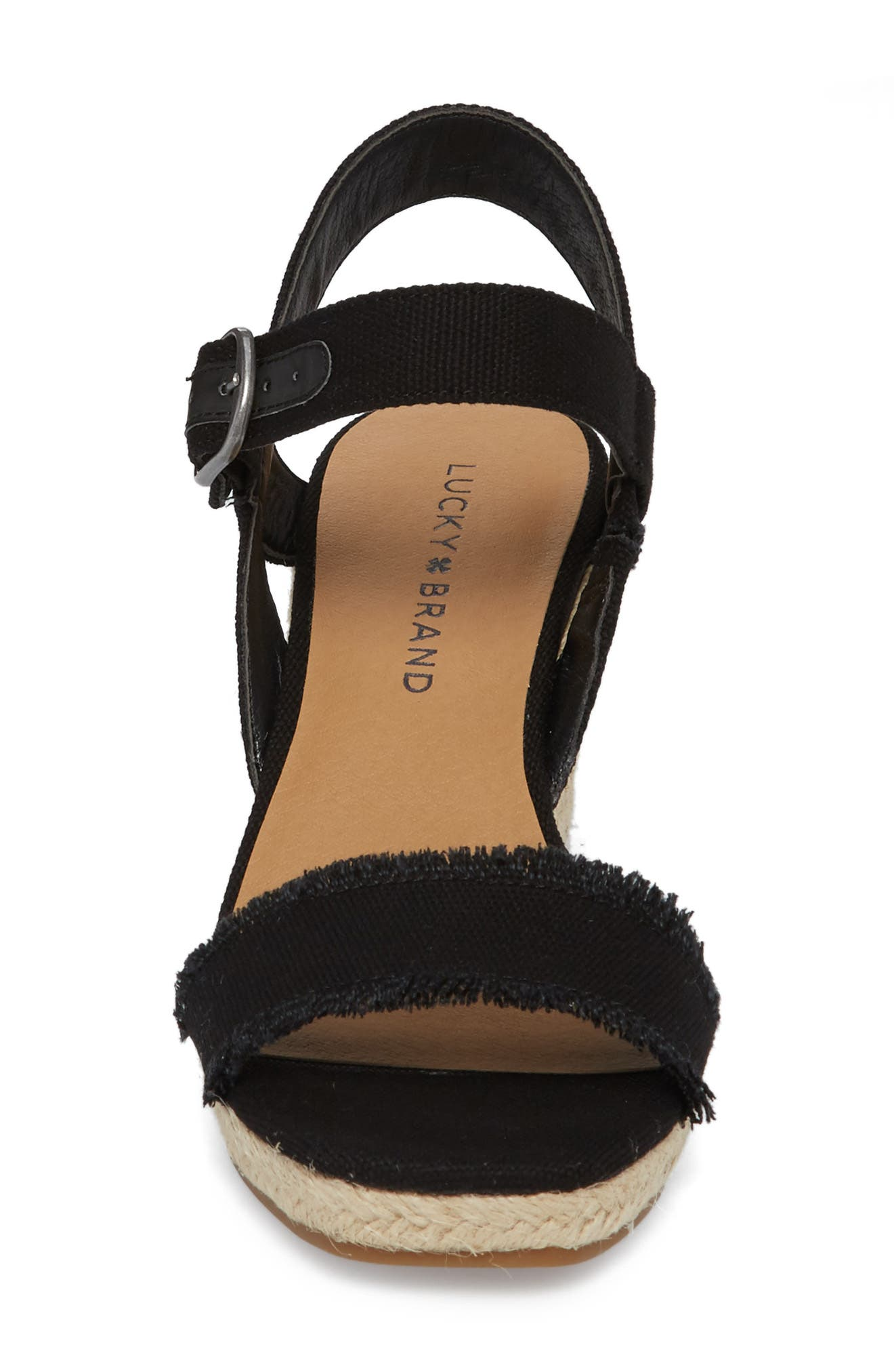 Marceline Squared Toe Wedge Sandal,                             Alternate thumbnail 4, color,                             001
