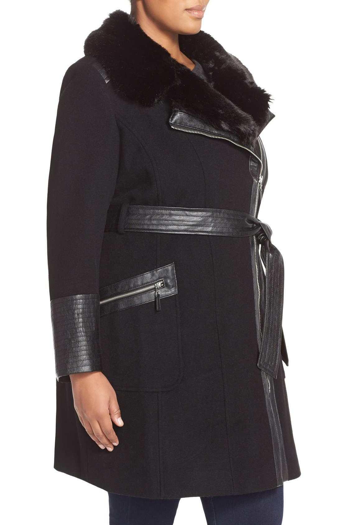 Asymmetrical Wool Blend Coat with Faux Fur Collar,                             Alternate thumbnail 4, color,                             001