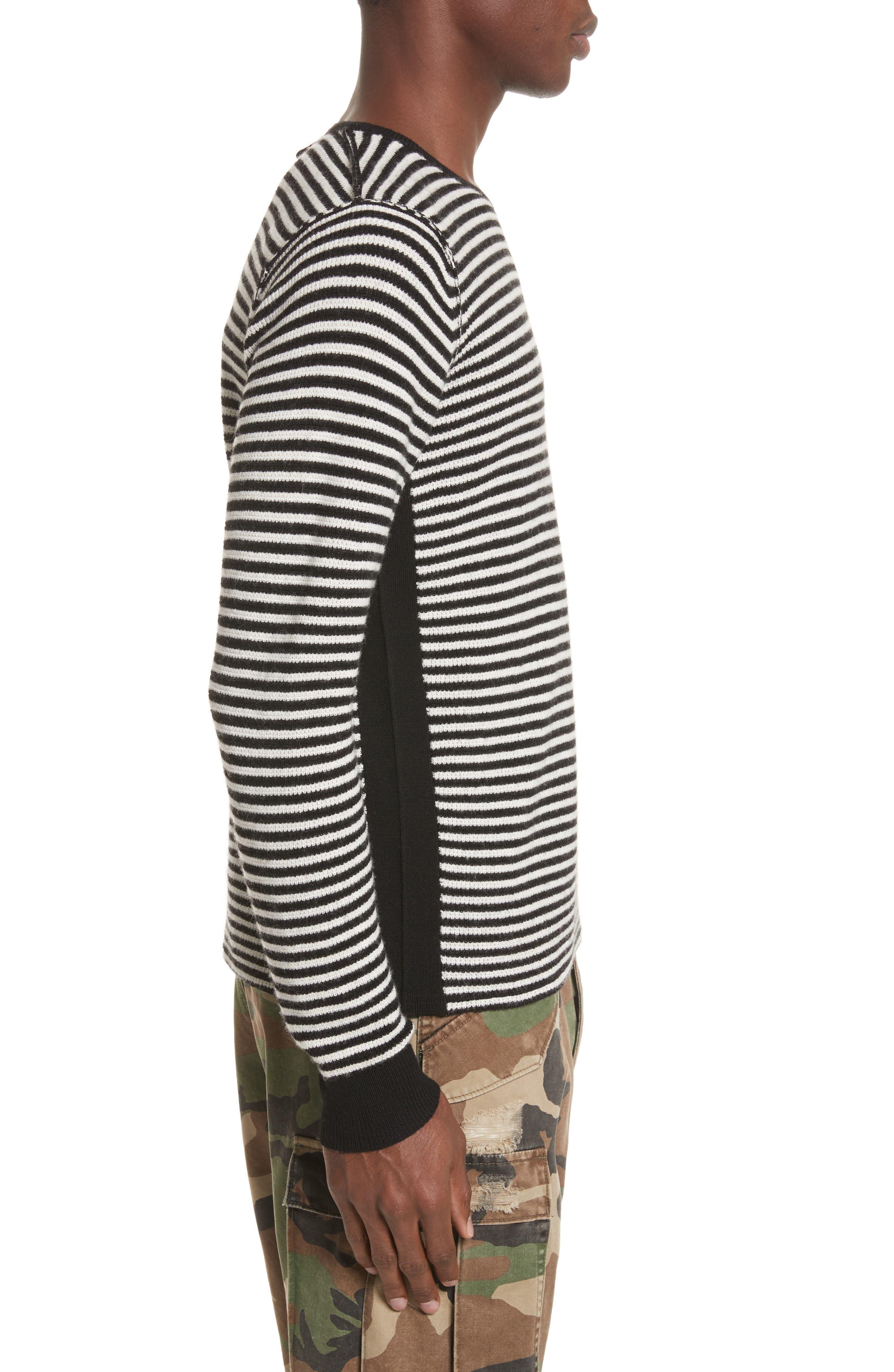 Stripe Waffle Knit Wool Sweater,                             Alternate thumbnail 3, color,                             006