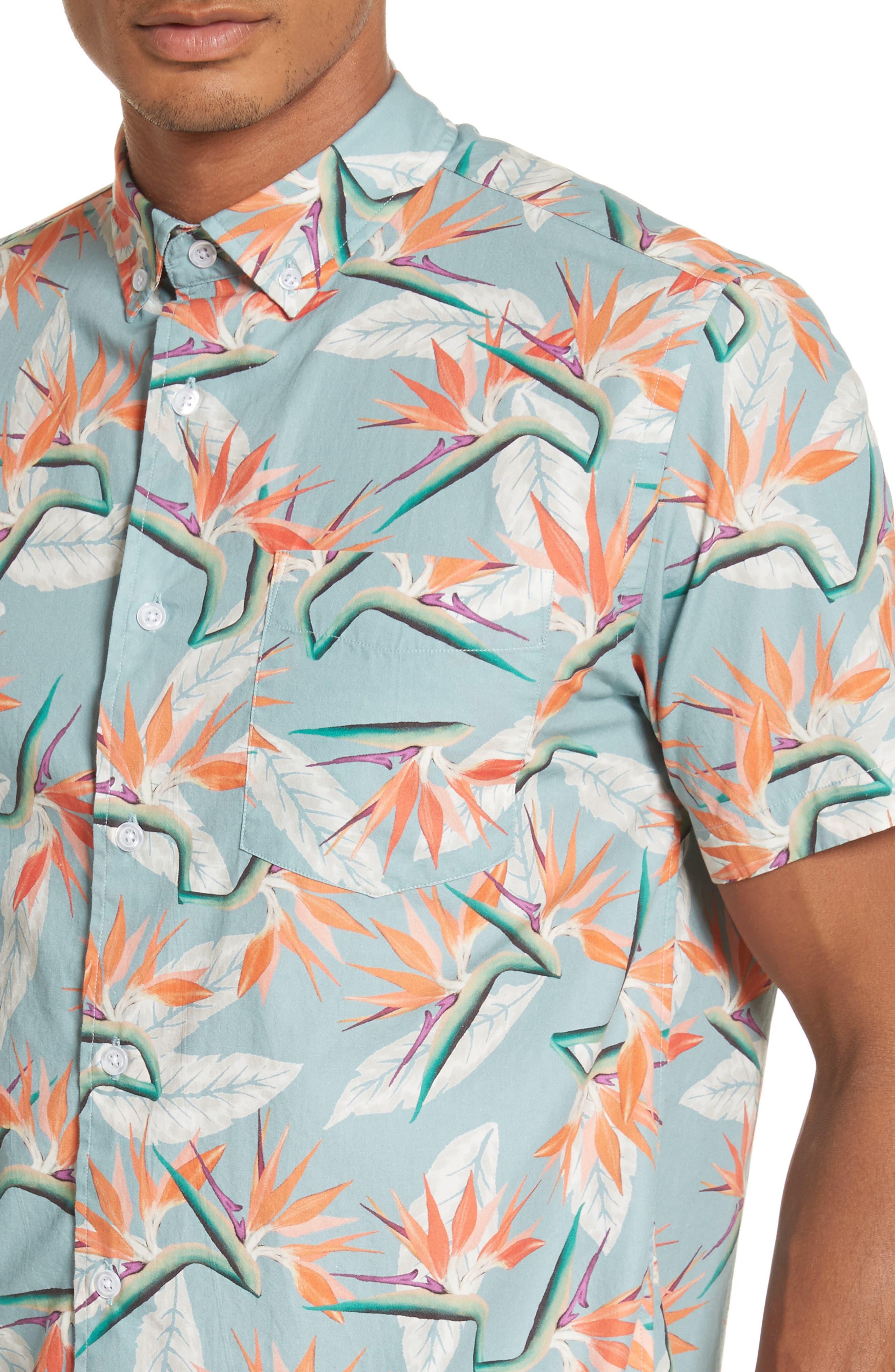 Esquina Paradise Woven Shirt,                             Alternate thumbnail 4, color,                             PARADISE PRINT