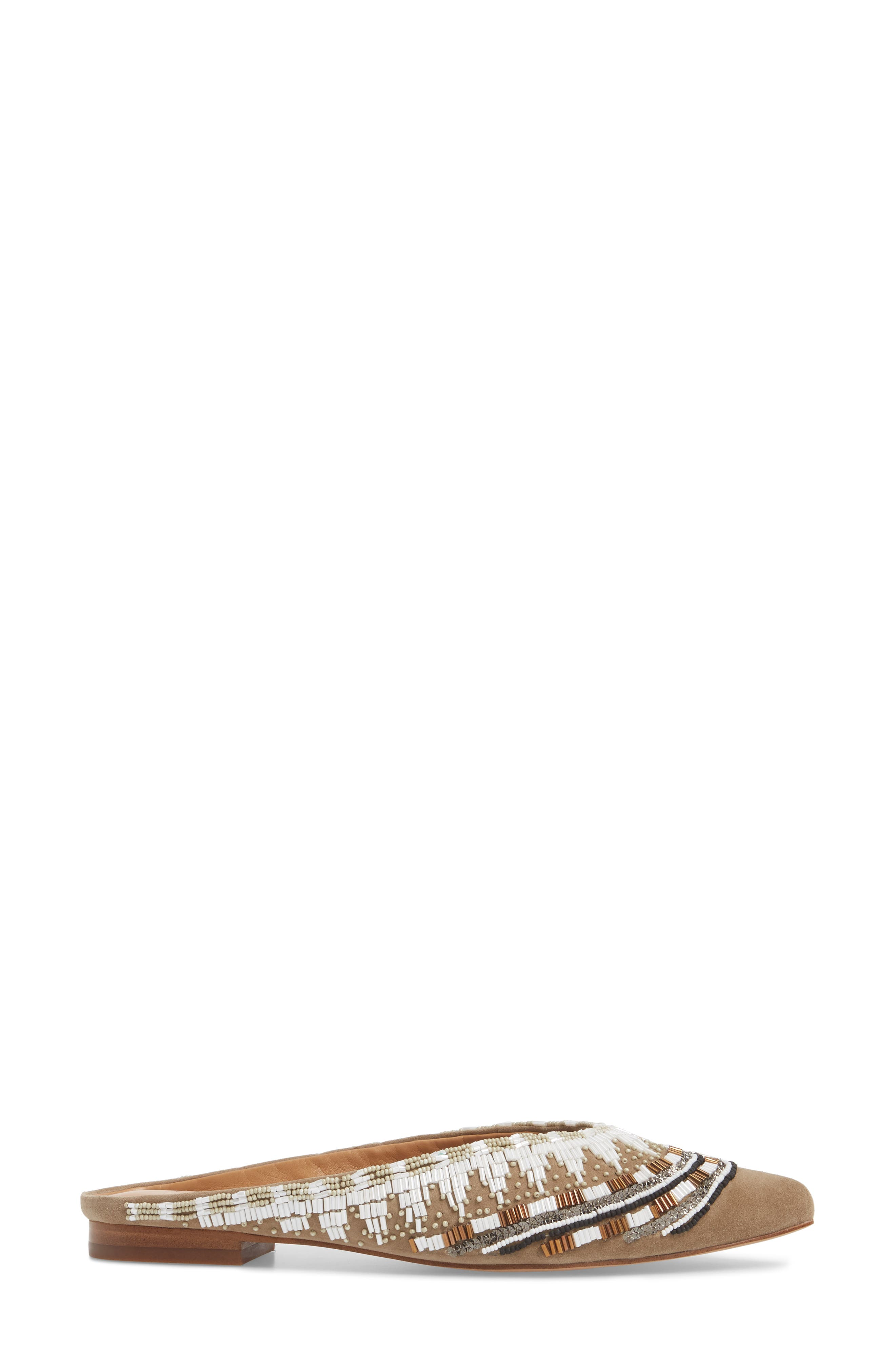 Roxane Beaded Flat Mule,                             Alternate thumbnail 3, color,                             TAUPE SUEDE