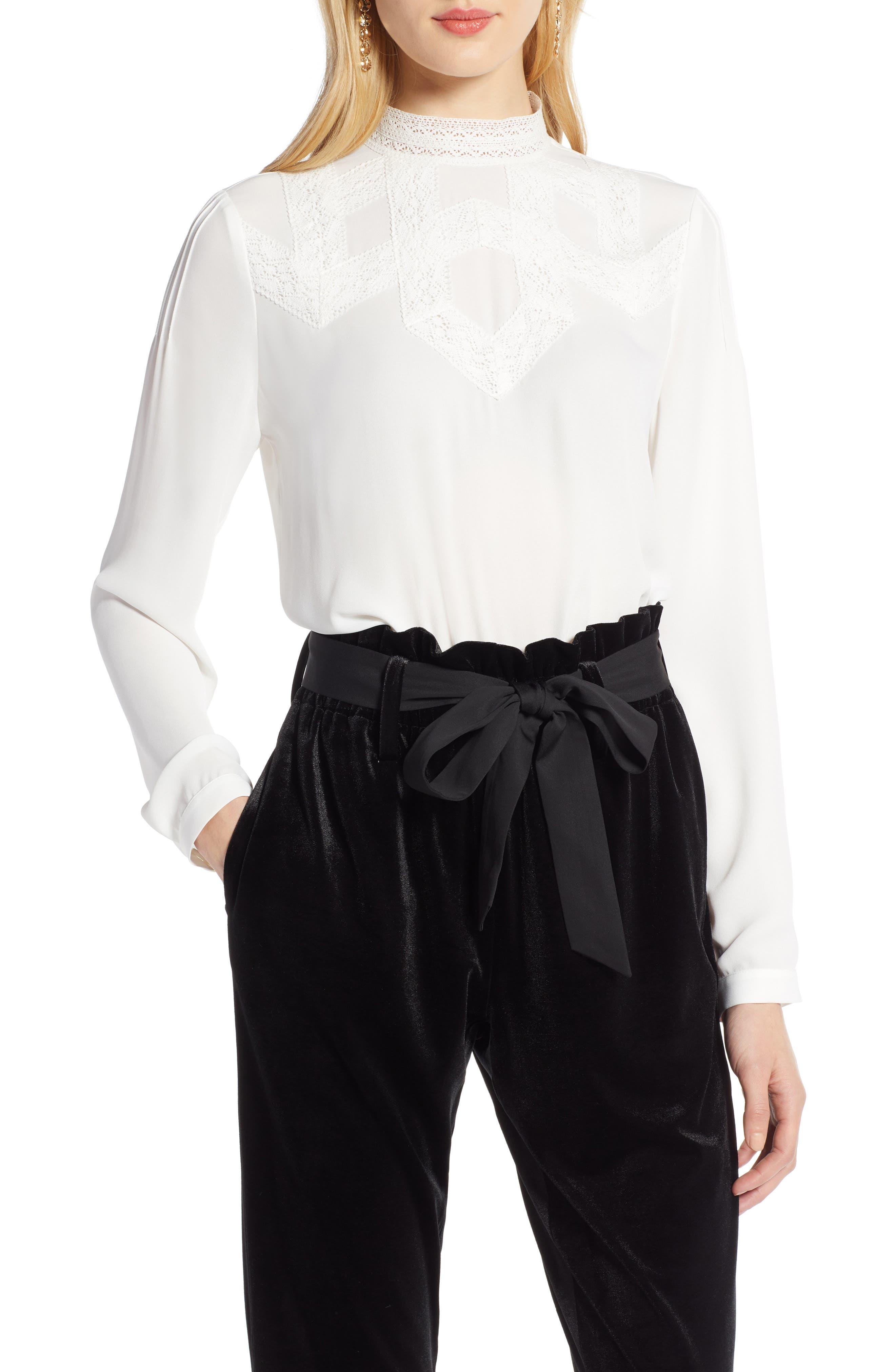 Edwardian Blouses   White & Black Lace Blouses & Sweaters Womens Halogen Lace Detail Blouse $79.00 AT vintagedancer.com