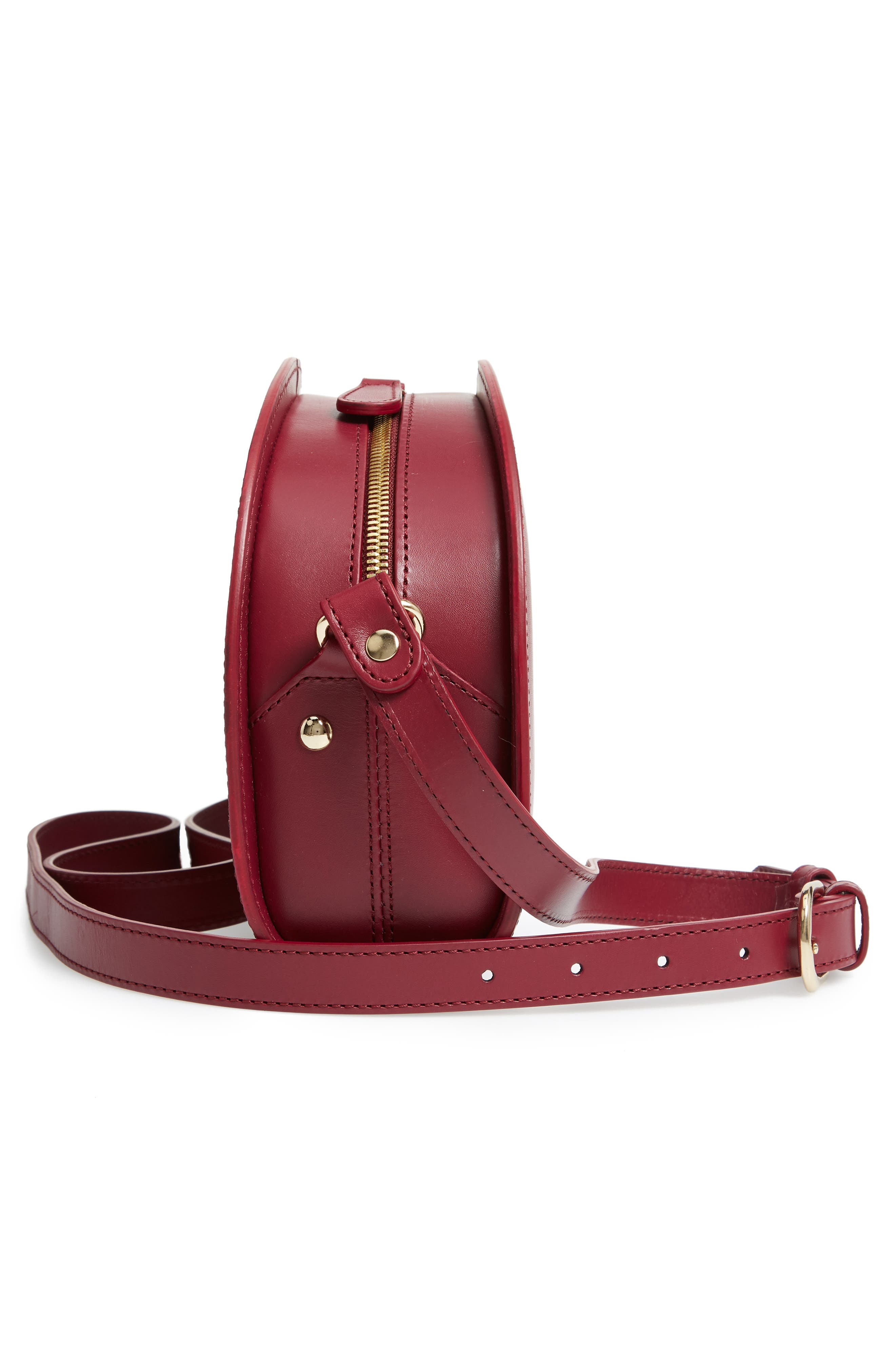 Sac Demi Lune Leather Crossbody Bag,                             Alternate thumbnail 5, color,                             FRAMBOISE