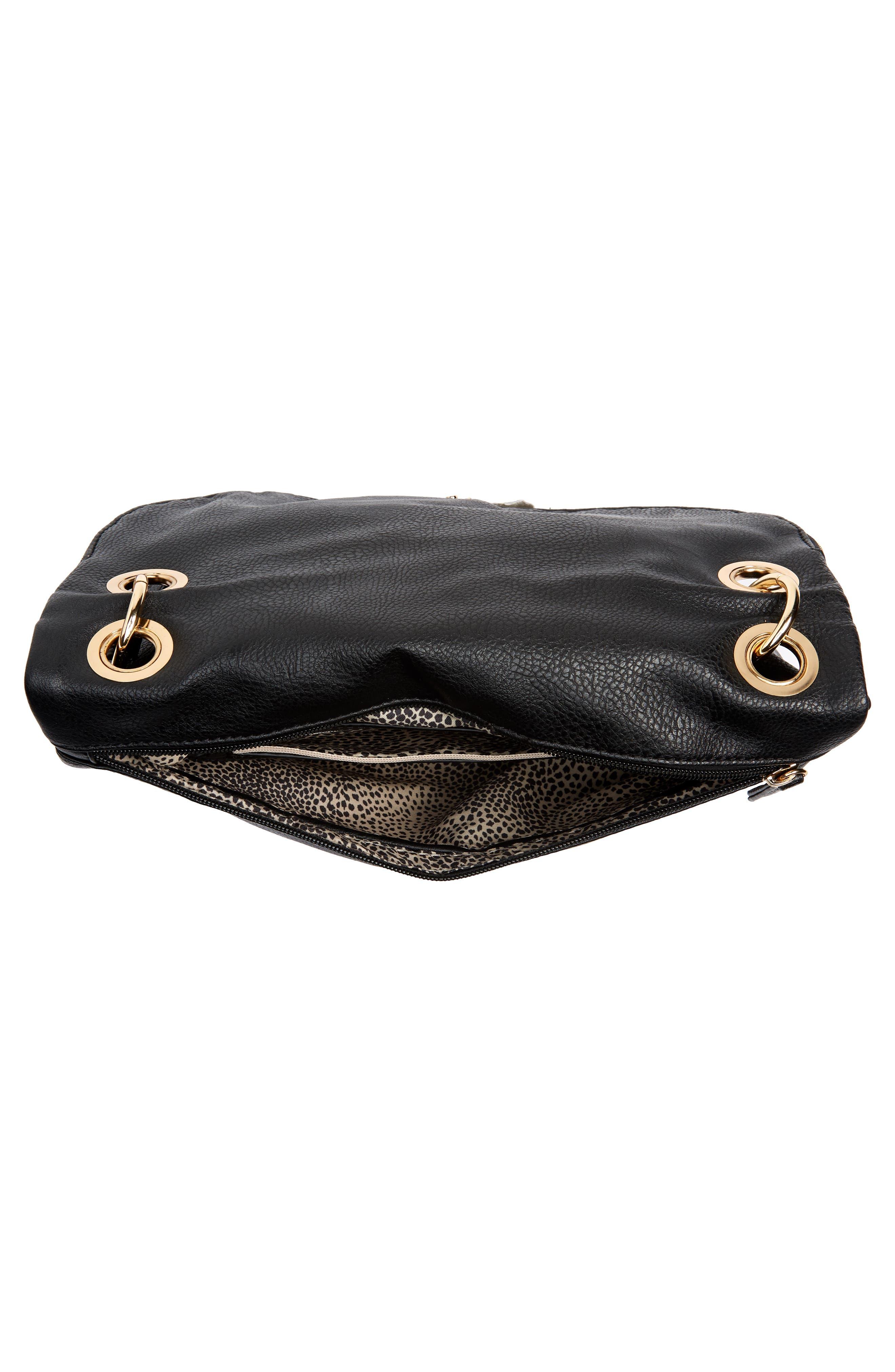 Faux Leather Foldover Tassel Crossbody Bag,                             Alternate thumbnail 4, color,                             BLACK