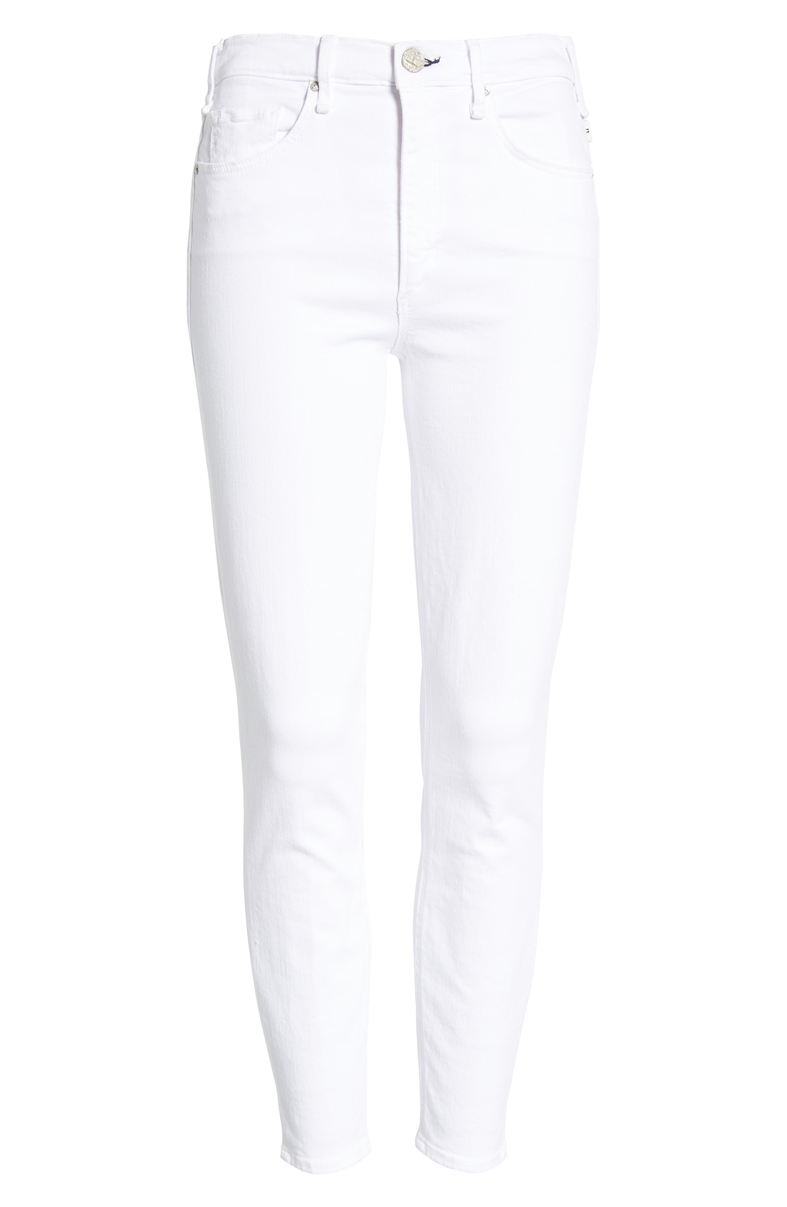 Split Hem High Waist Ankle Skinny Jeans,                             Alternate thumbnail 7, color,                             100