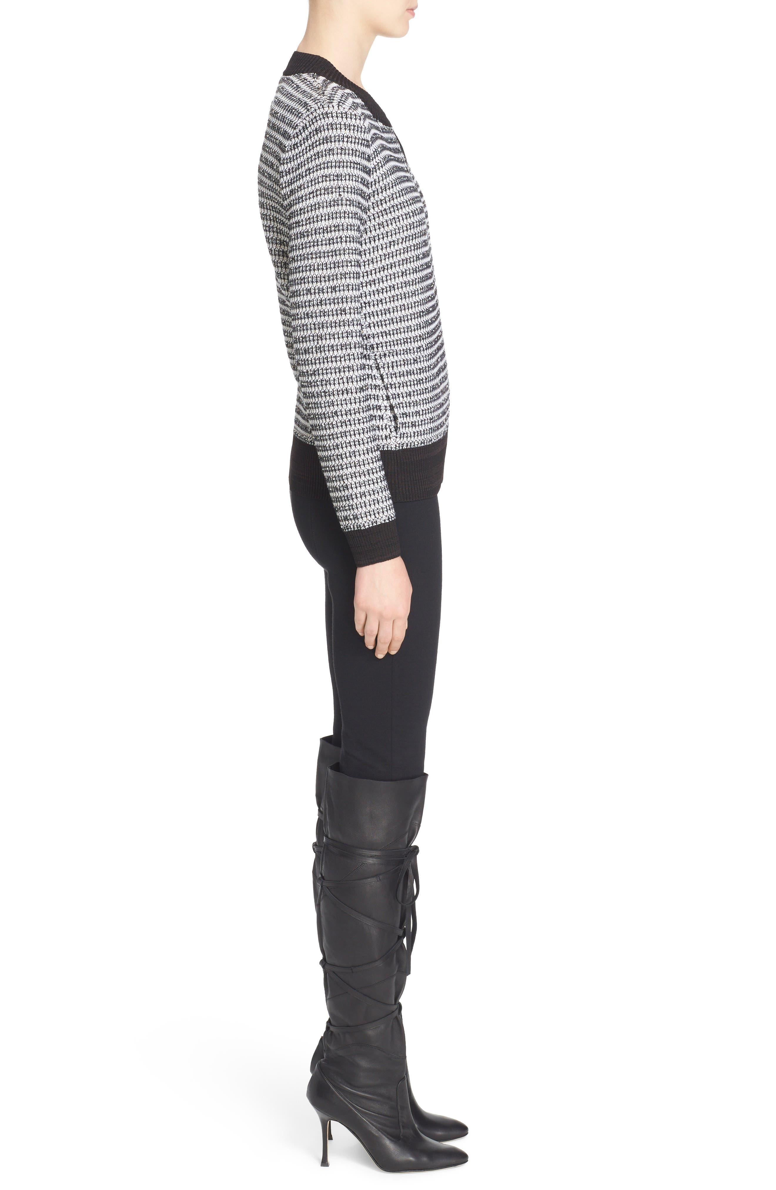 'Alexa' Stretch Milano Knit Ankle Pants,                             Alternate thumbnail 3, color,                             CAVIAR