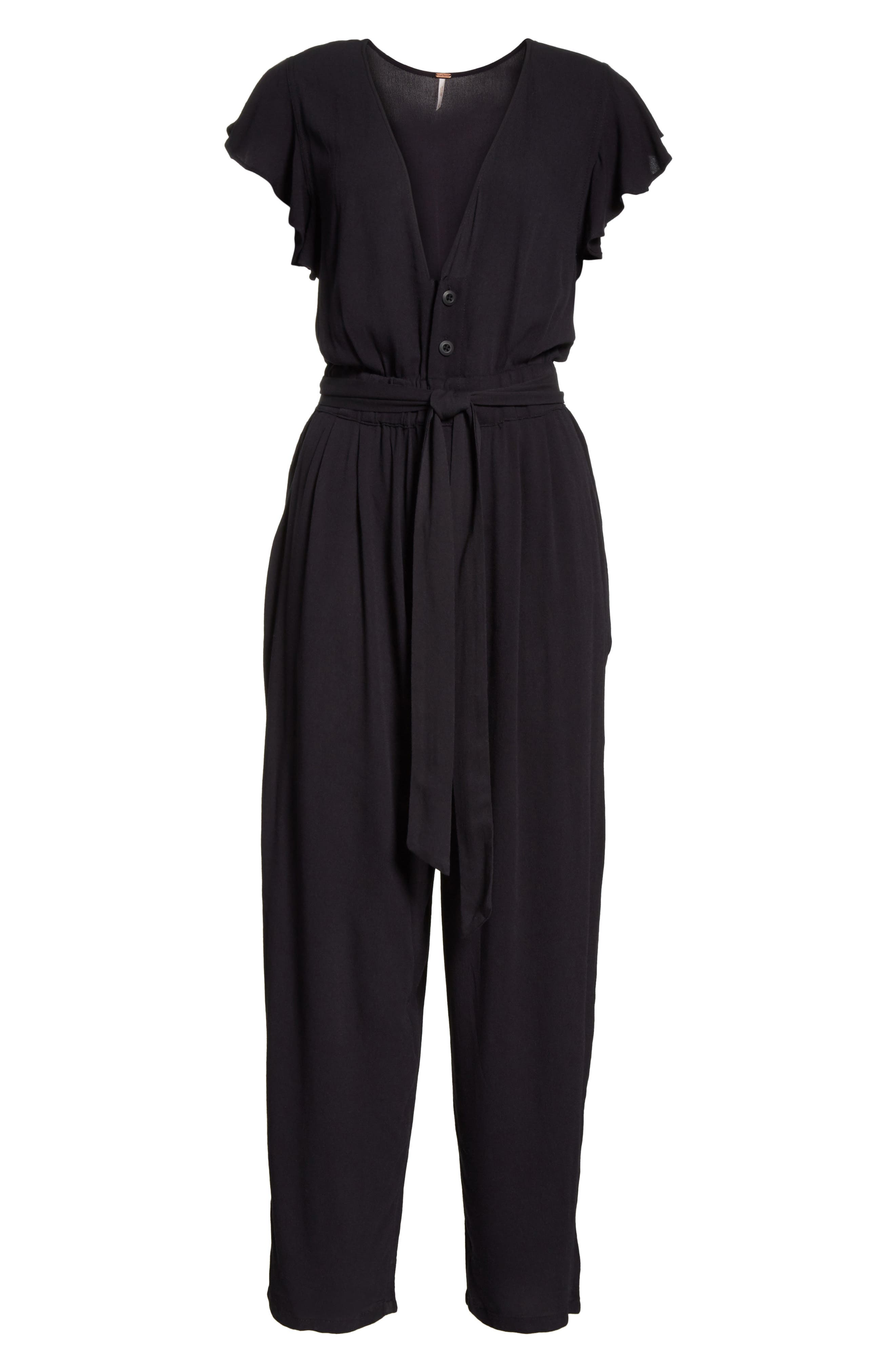 FREE PEOPLE,                             Ruffle Your Feather Jumpsuit,                             Alternate thumbnail 6, color,                             001