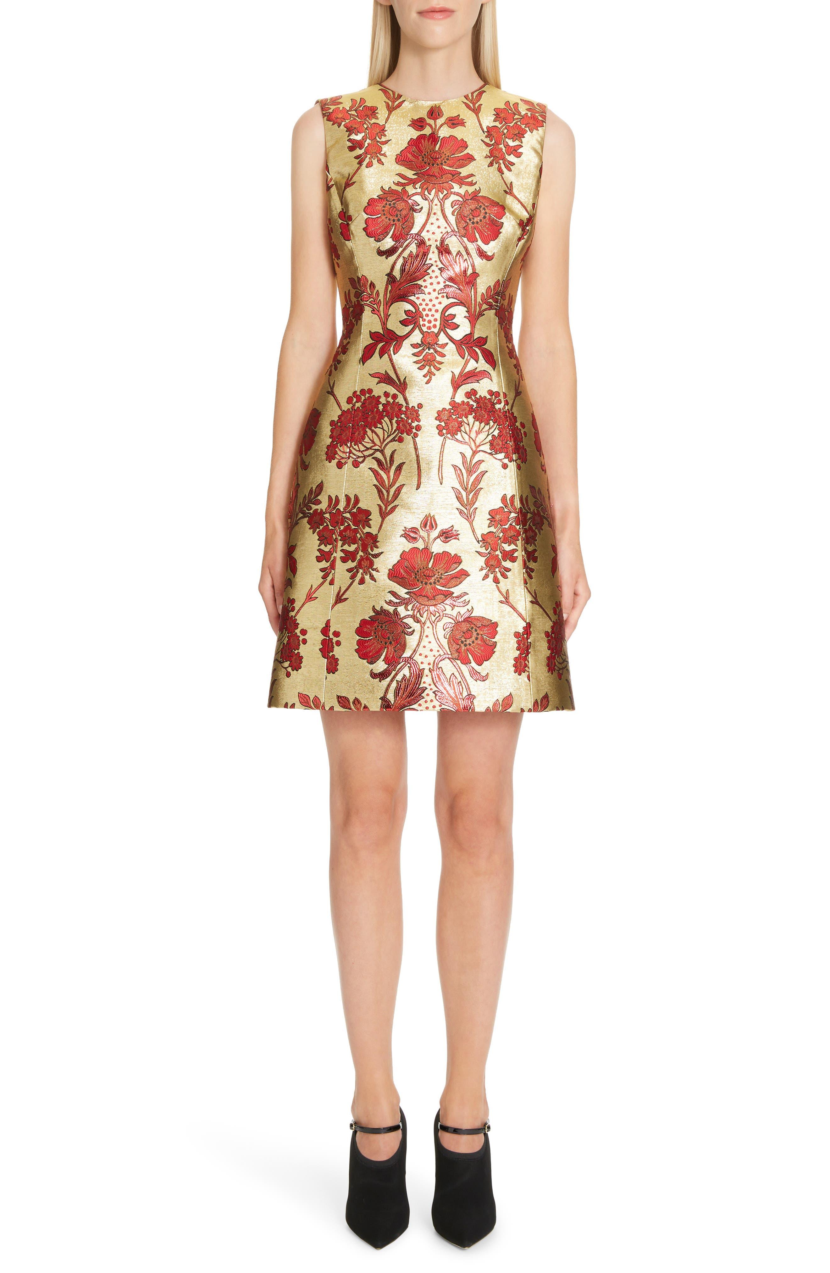 Metallic Jacquard A-Line Dress,                         Main,                         color, S8351 JACQUARD LUREX FLORAL