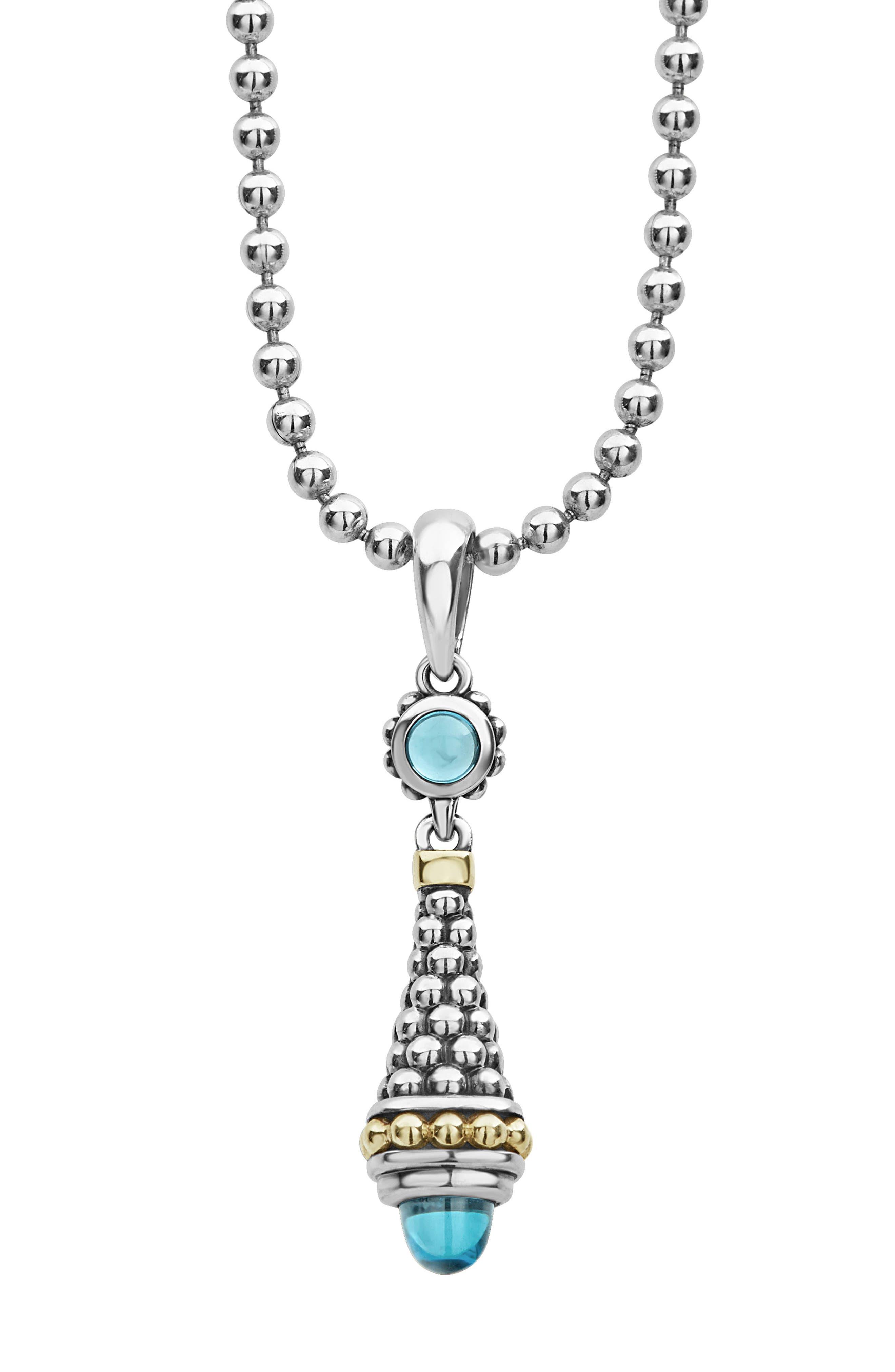 Signature Caviar & Blue Topaz Bullet Pendant Necklace,                             Alternate thumbnail 3, color,                             SILVER/ BLUE TOPAZ