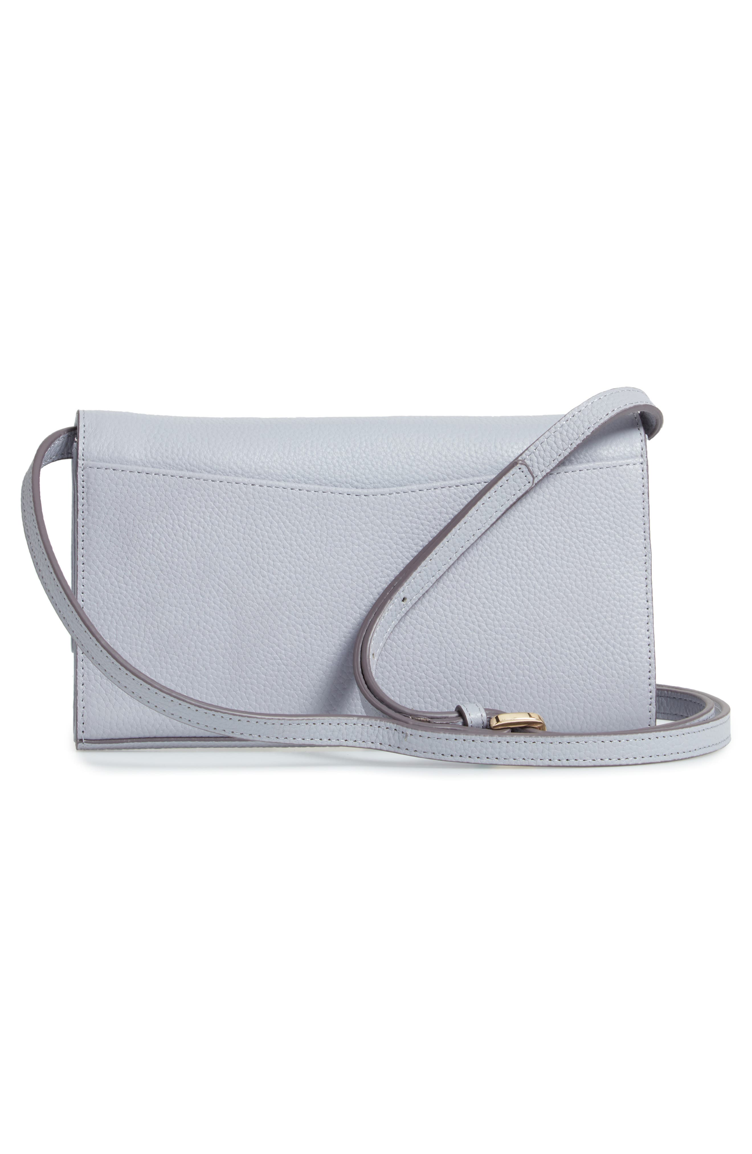 Leather Wallet on a Strap,                             Alternate thumbnail 3, color,                             GREY LILAC