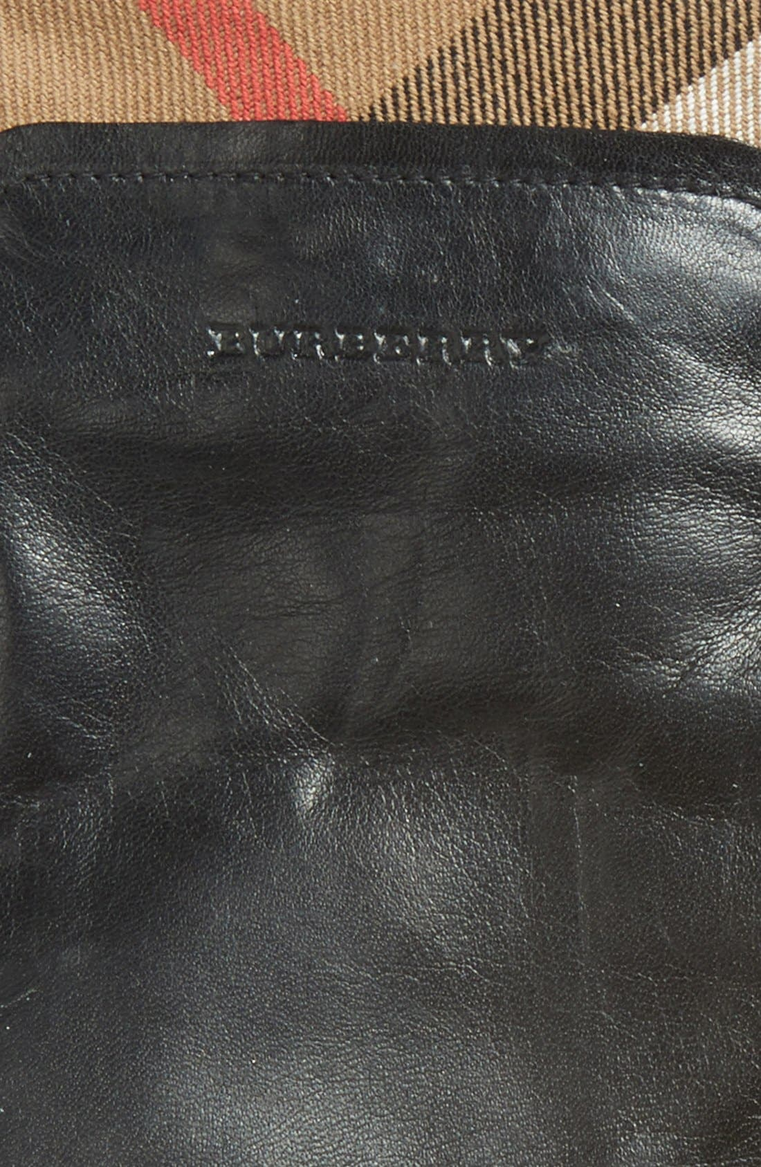 BURBERRY,                             'Jenny - House Check' Touch Tech Leather Gloves,                             Alternate thumbnail 3, color,                             001