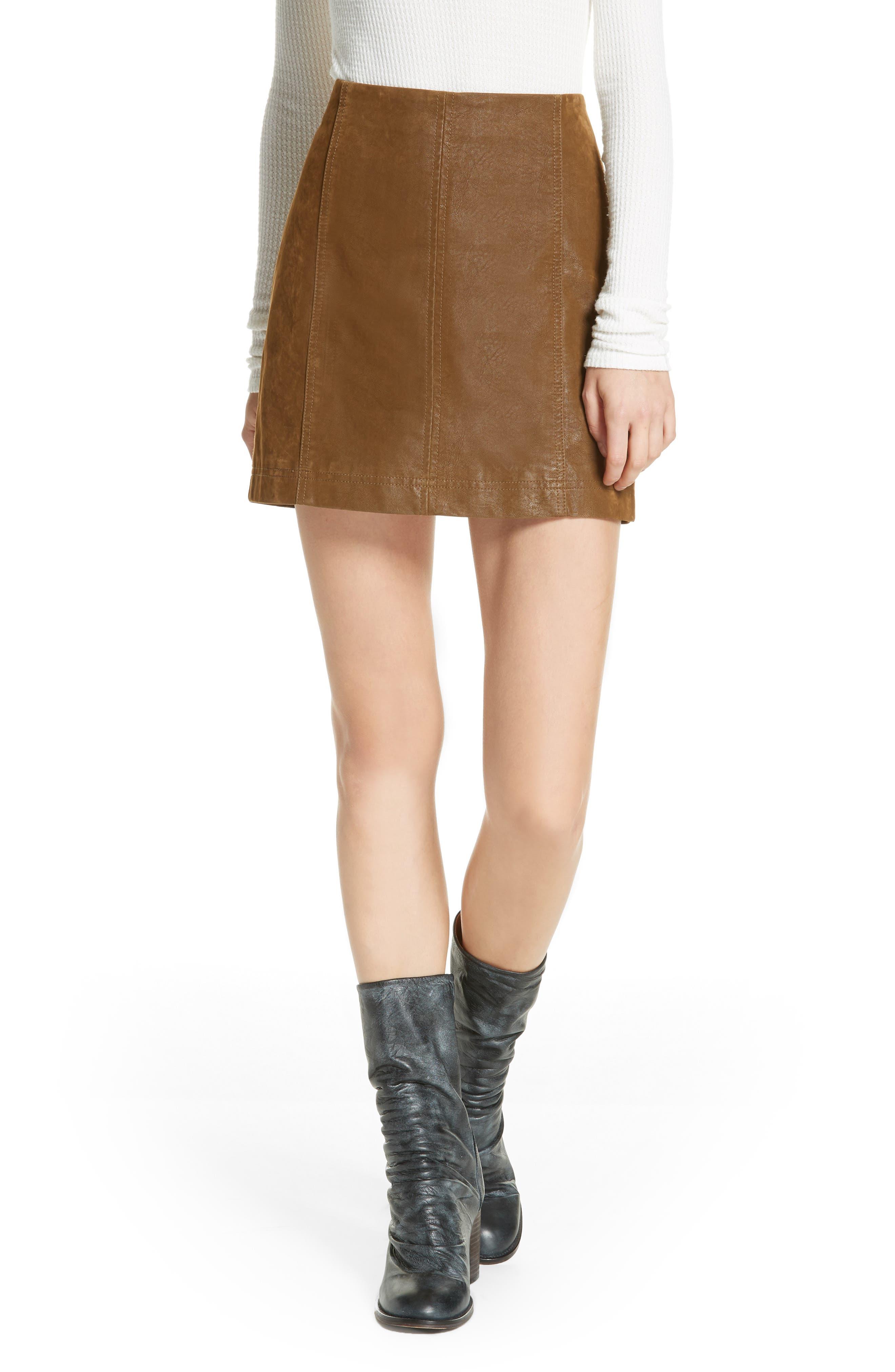 Faux Leather Miniskirt,                             Main thumbnail 1, color,                             394