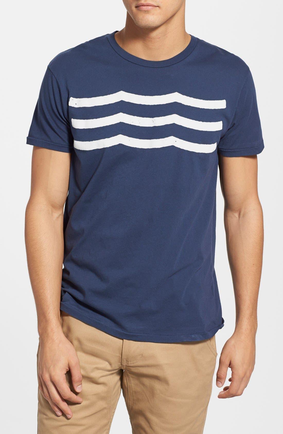 'Waves' Graphic T-Shirt,                             Main thumbnail 1, color,                             NAVY