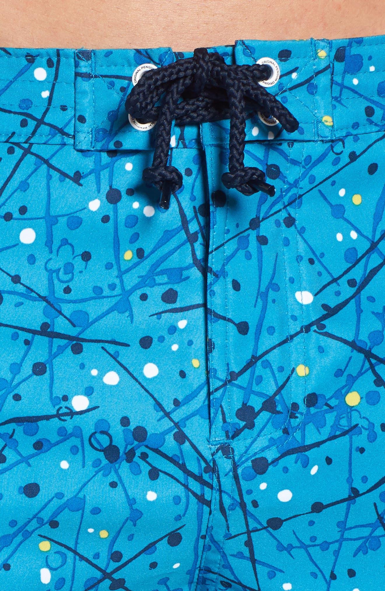 Splatter Paint Swim Trunks,                             Alternate thumbnail 4, color,