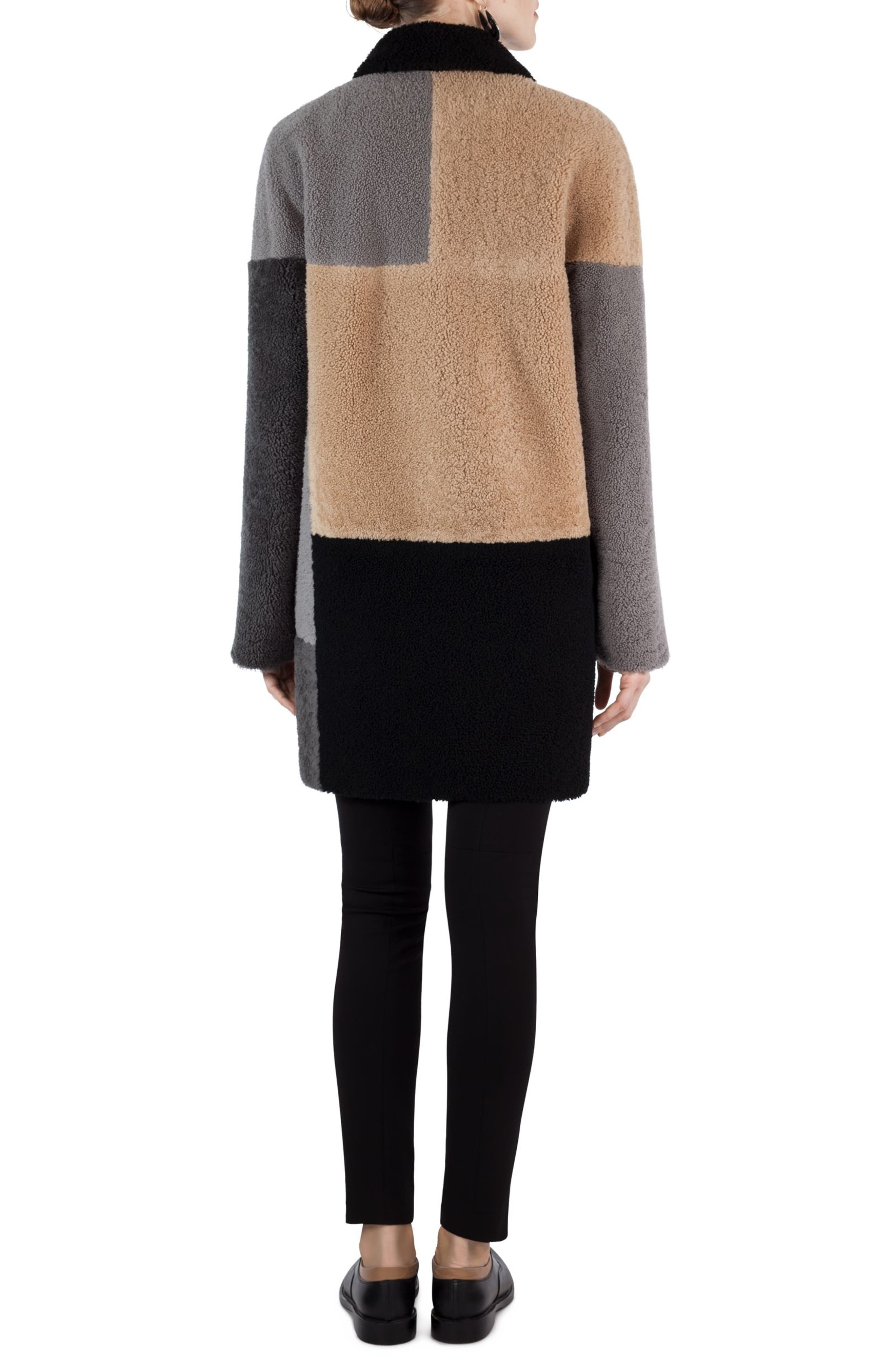 Colorblock Reversible Genuine Shearling Coat,                             Alternate thumbnail 2, color,                             200