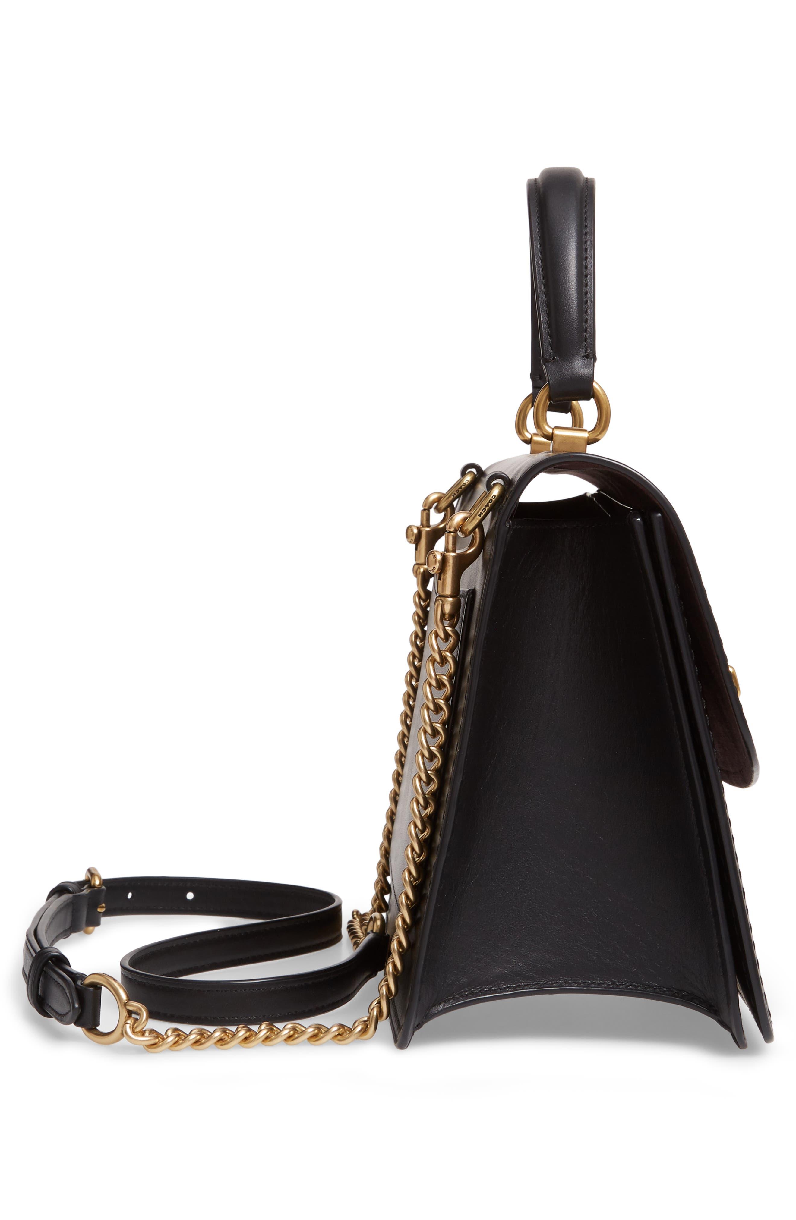 COACH,                             Parker Signature Canvas & Leather Top Handle Shoulder Bag,                             Alternate thumbnail 5, color,                             B4/ BLACK