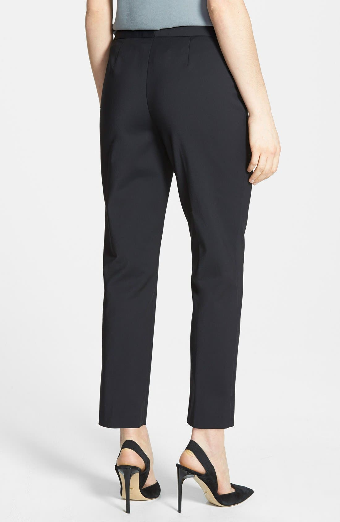 NORDSTROM COLLECTION,                             'Veloria' Slim Ankle Pants,                             Alternate thumbnail 3, color,                             001