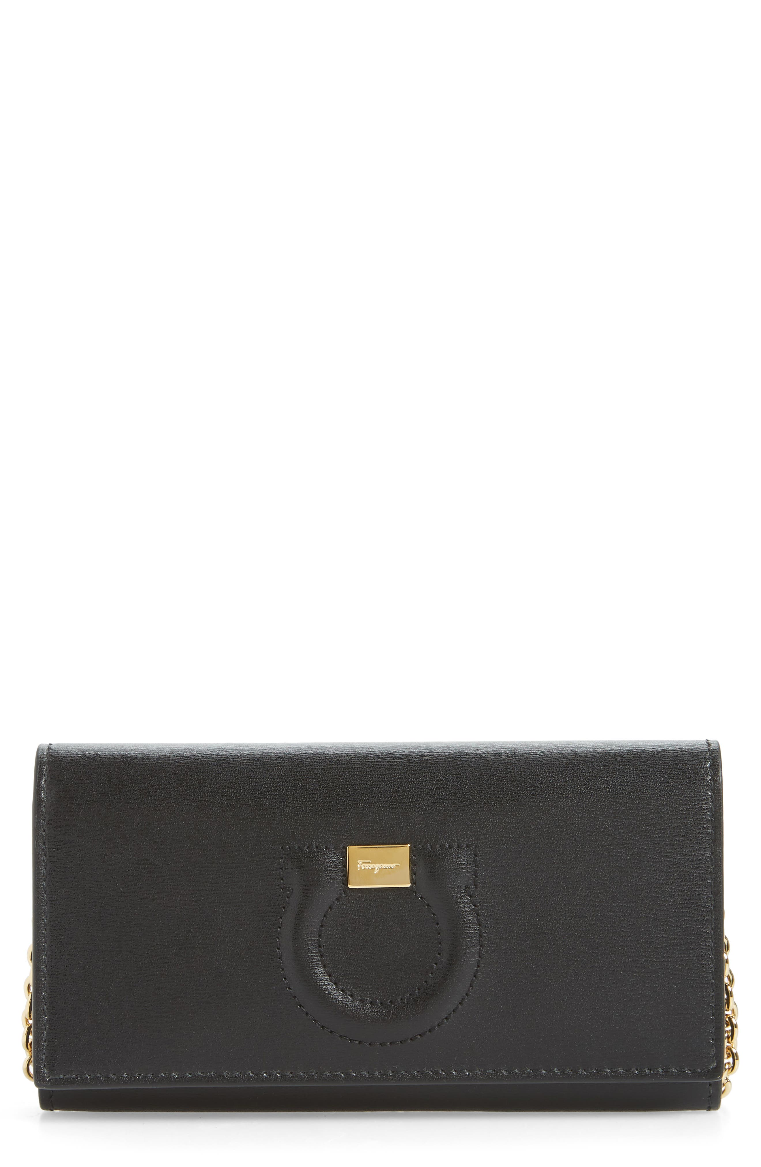 City Quilted Gancio Leather Wallet on a Chain, Main, color, BLACK