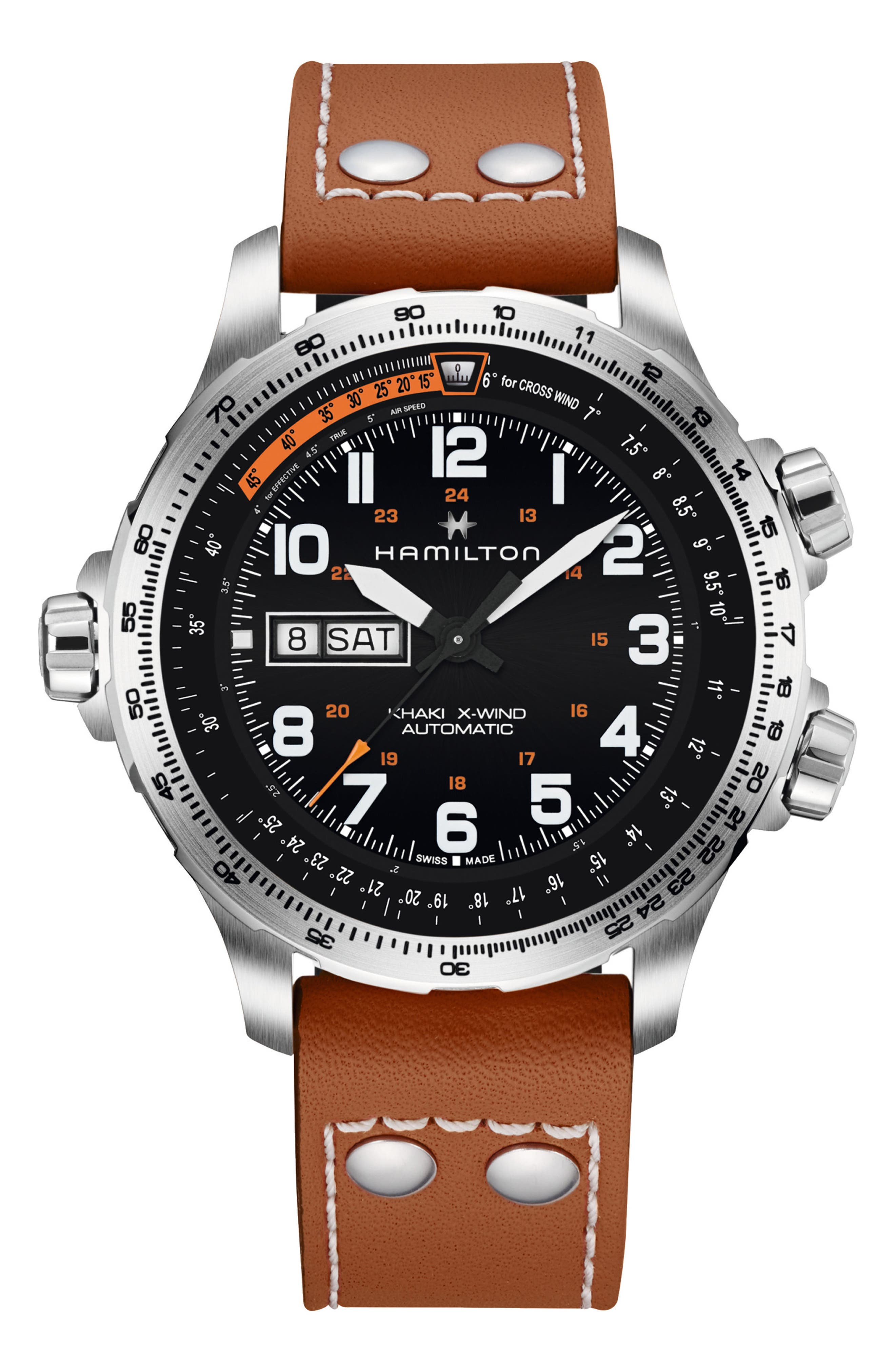 Khaki X-Wind Automatic Chronograph Leather Strap Watch, 45mm,                         Main,                         color, LIGHT BROWN/ BLACK/ SILVER