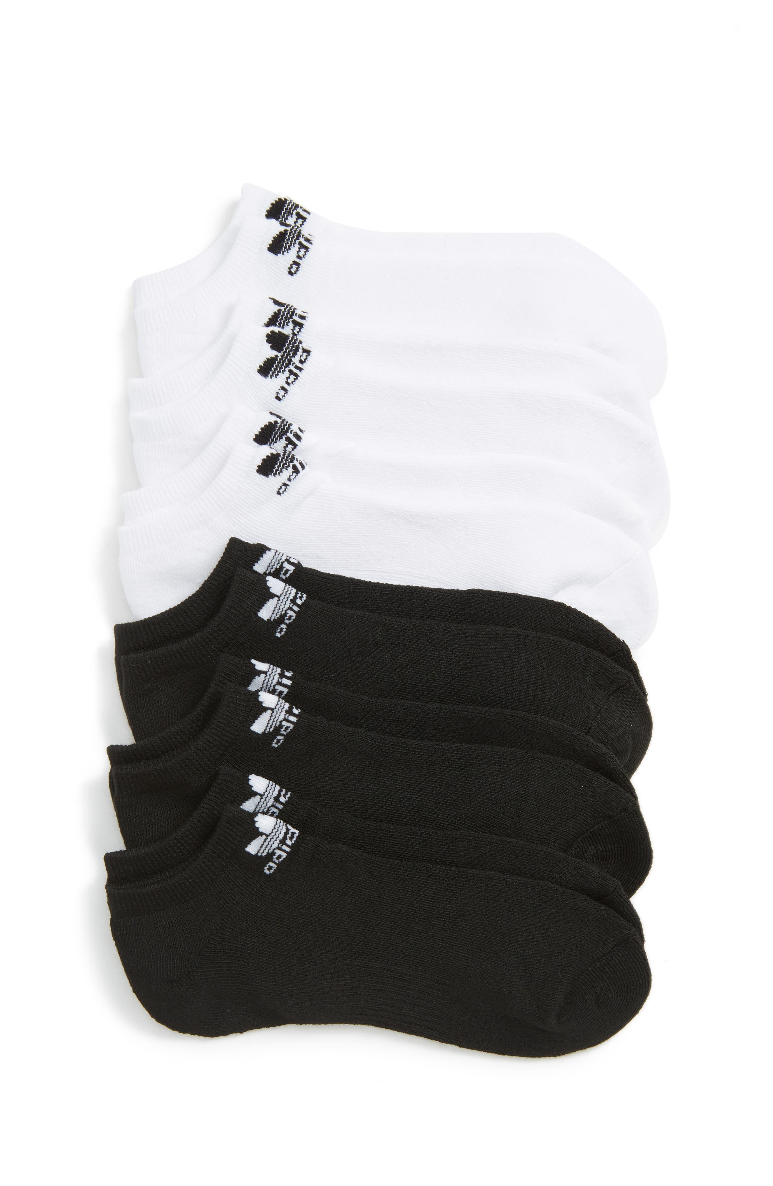 Trefoil 6-Pack No-Show Socks,                         Main,                         color, BLACK/ WHITE