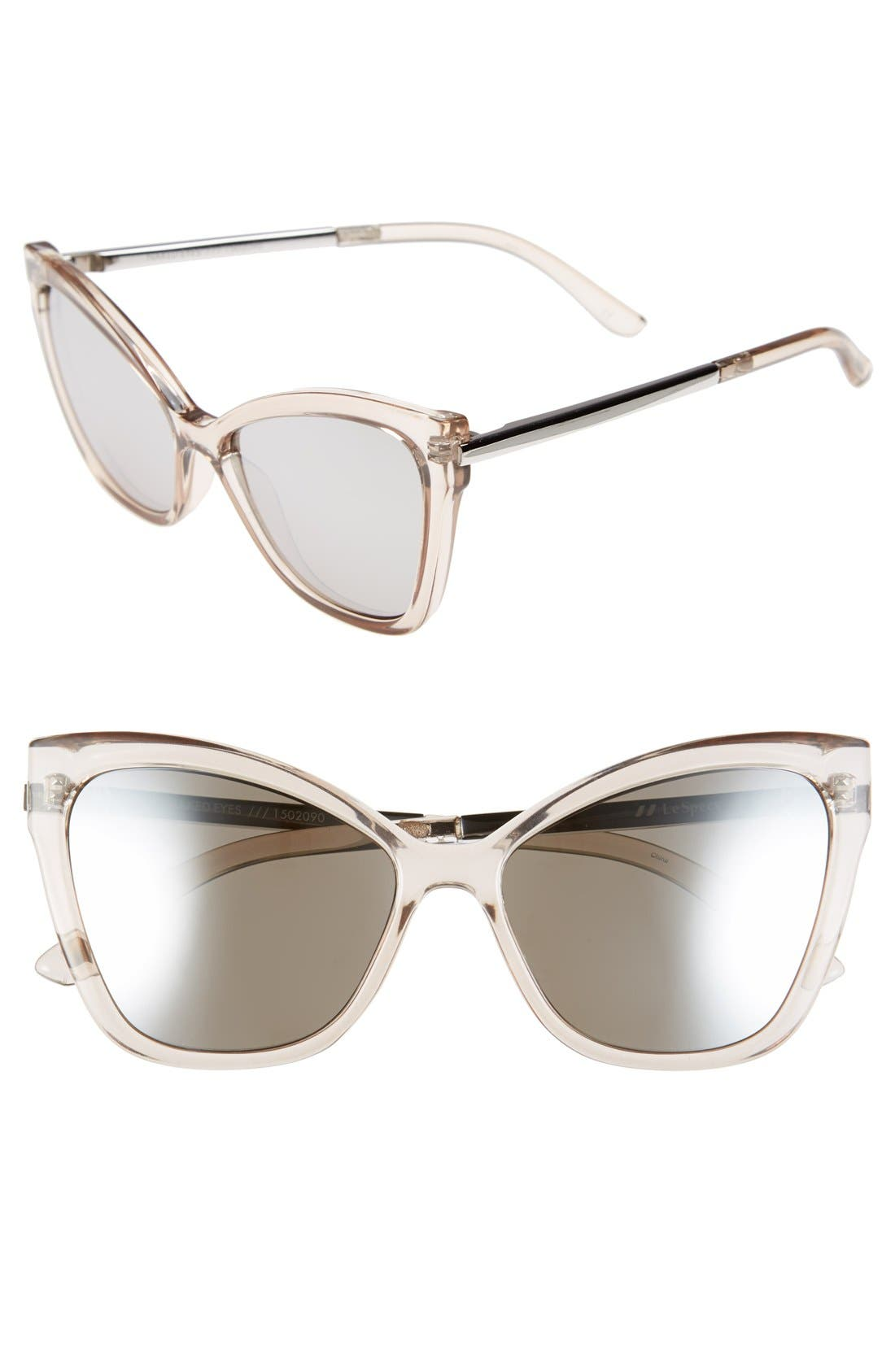 LE SPECS,                             'Naked Eyes' 56mm Cat Eye Sunglasses,                             Main thumbnail 1, color,                             020