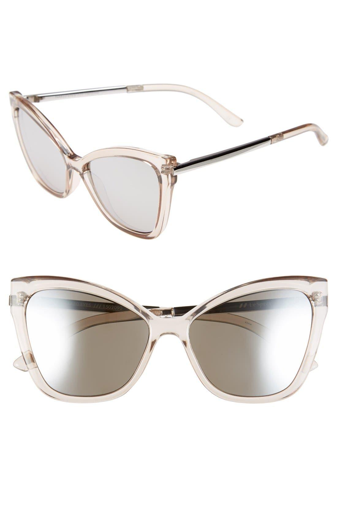 LE SPECS 'Naked Eyes' 56mm Cat Eye Sunglasses, Main, color, 020