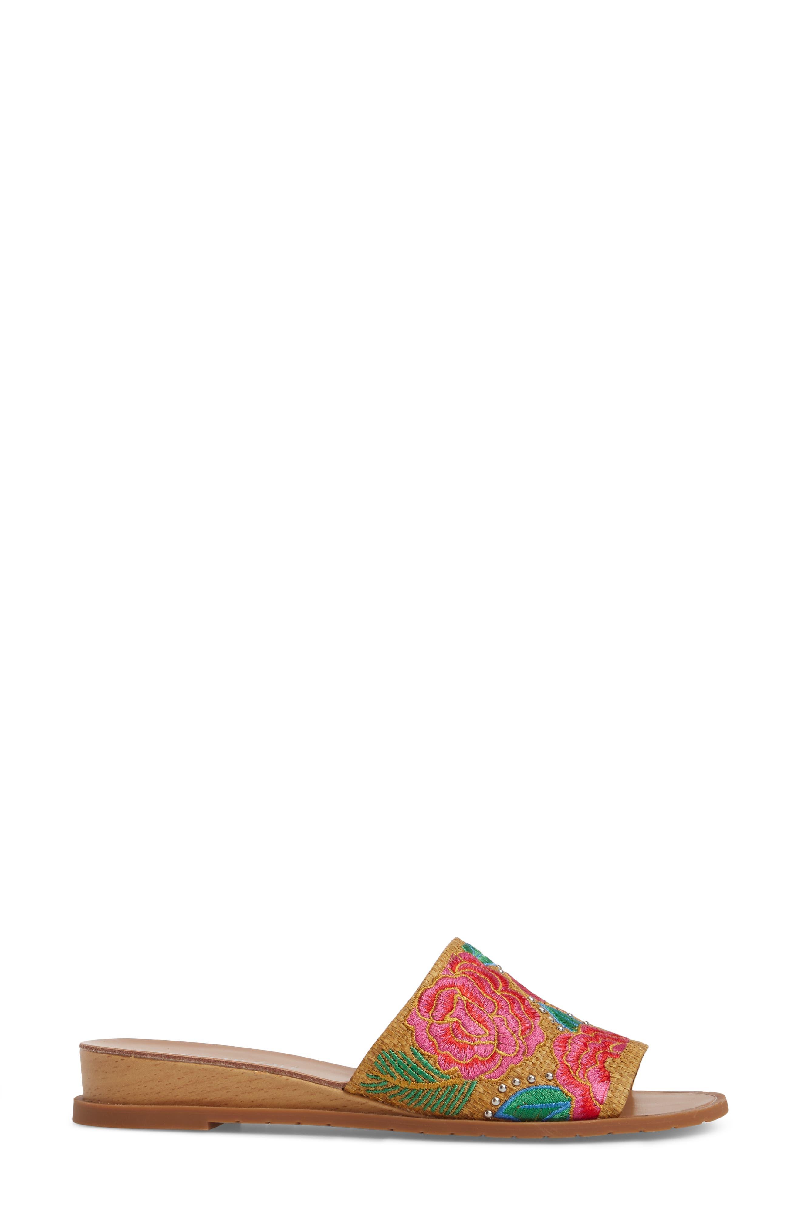 Joanne Flower Embroidered Slide Sandal,                             Alternate thumbnail 15, color,