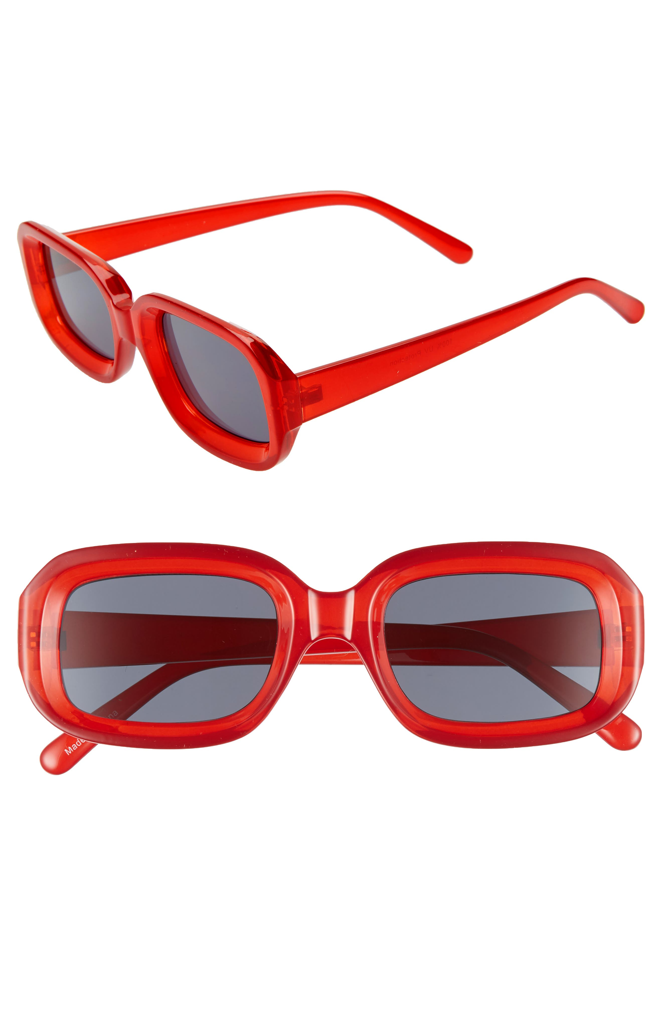 66mm Inset Square Sunglasses,                             Main thumbnail 1, color,                             RED/ BLACK
