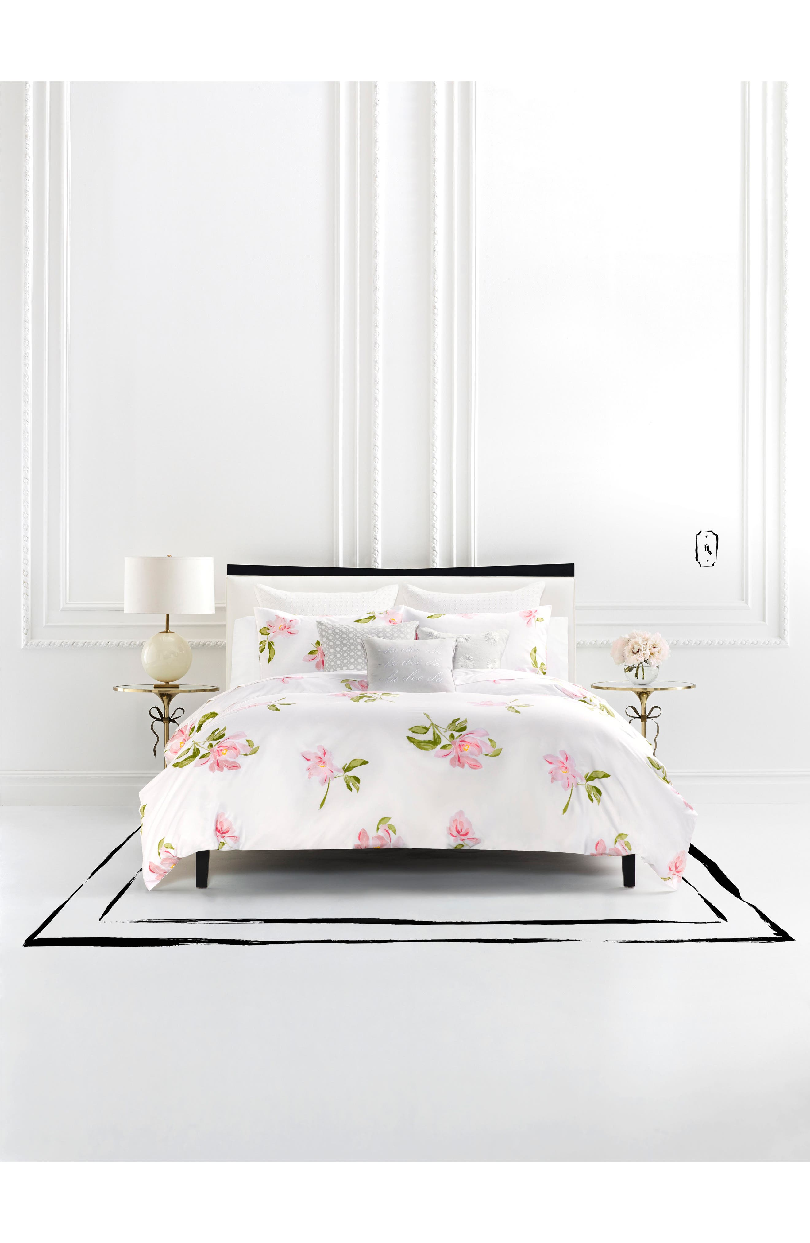 breezy magnolia duvet cover & sham set,                             Main thumbnail 1, color,                             WHITE