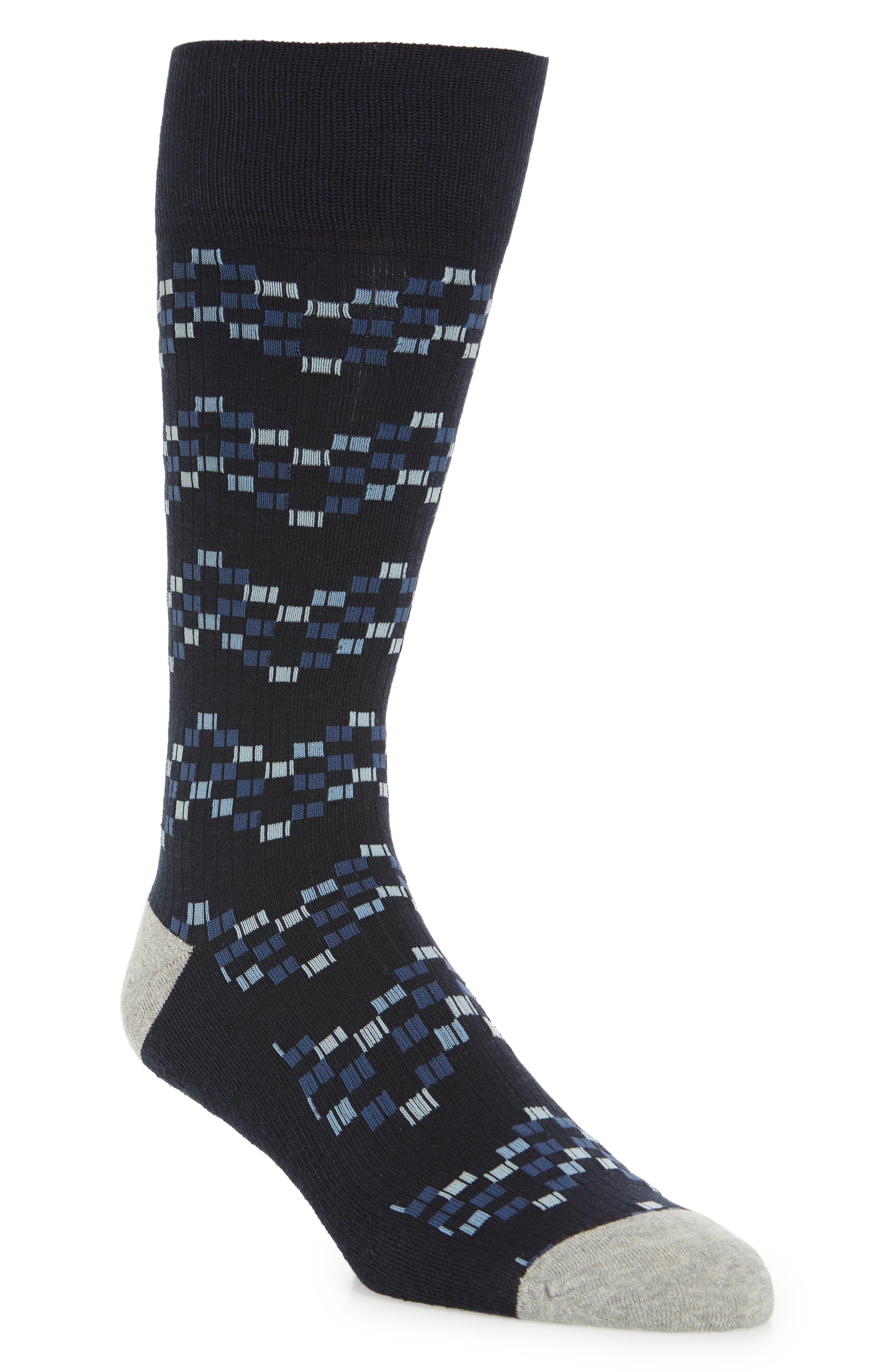 Pixel Geo Socks,                             Main thumbnail 1, color,                             NAVY/ BLUE
