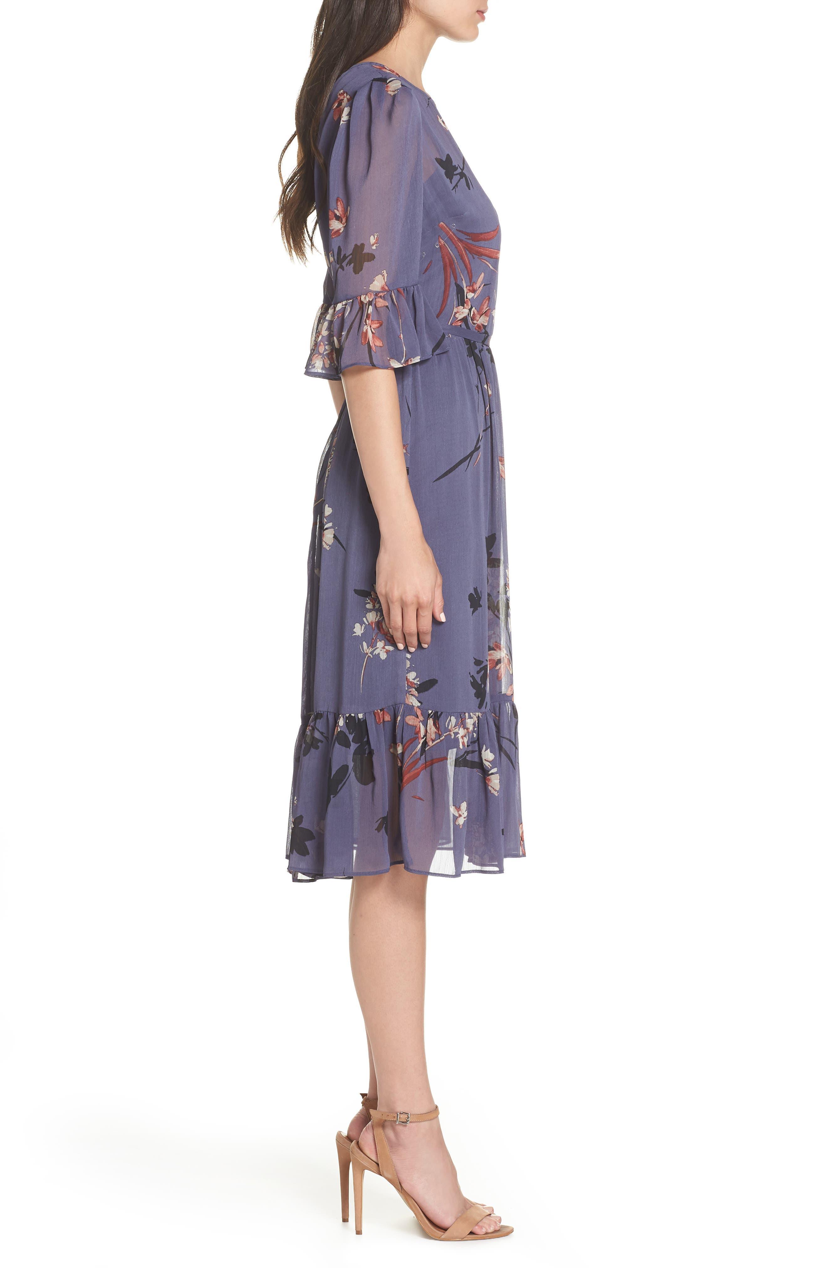 Floral Chiffon Midi Dress,                             Alternate thumbnail 3, color,                             BLUE MULTI