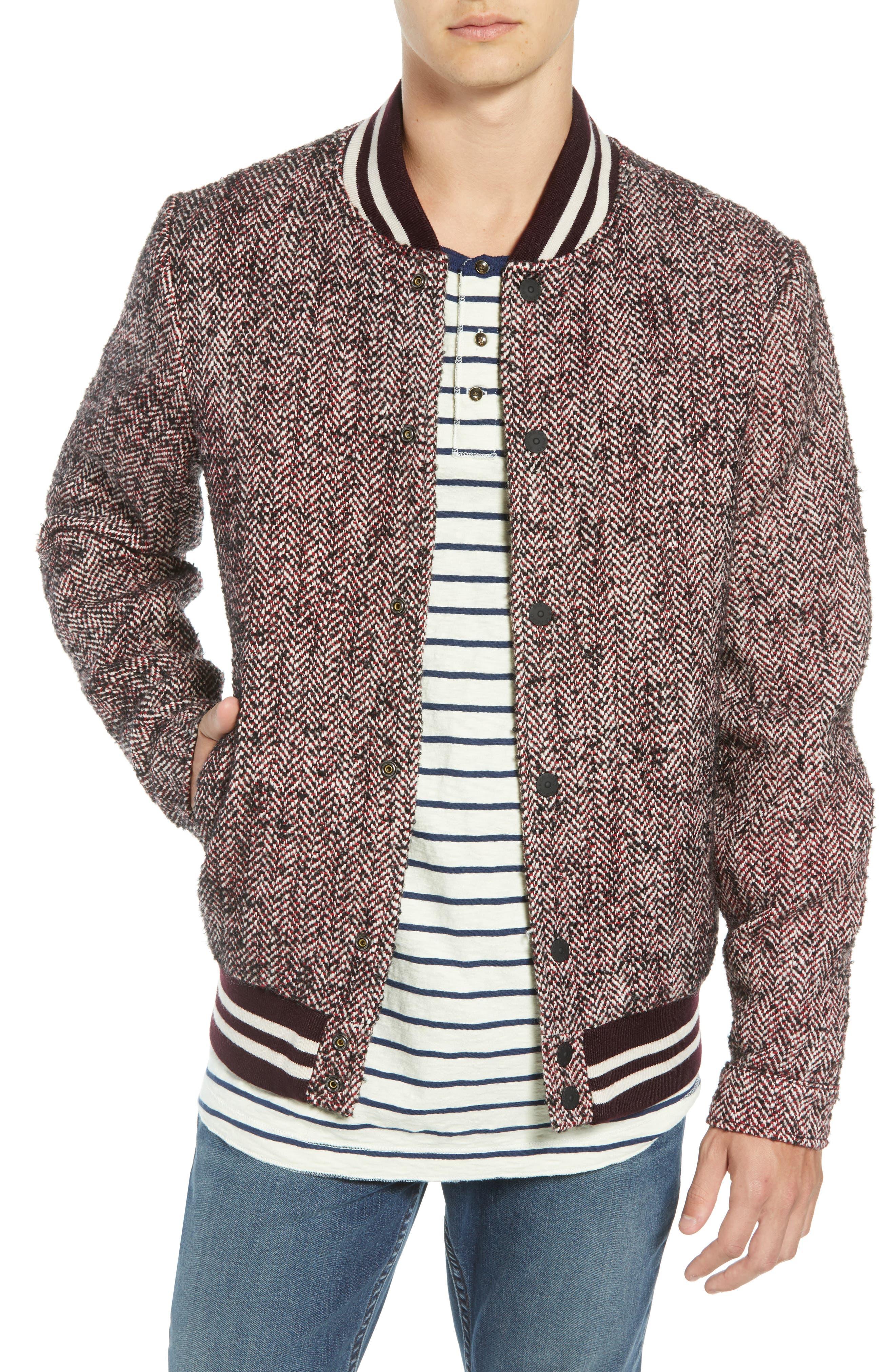 Herringbone Varsity Jacket,                         Main,                         color, COMBO A