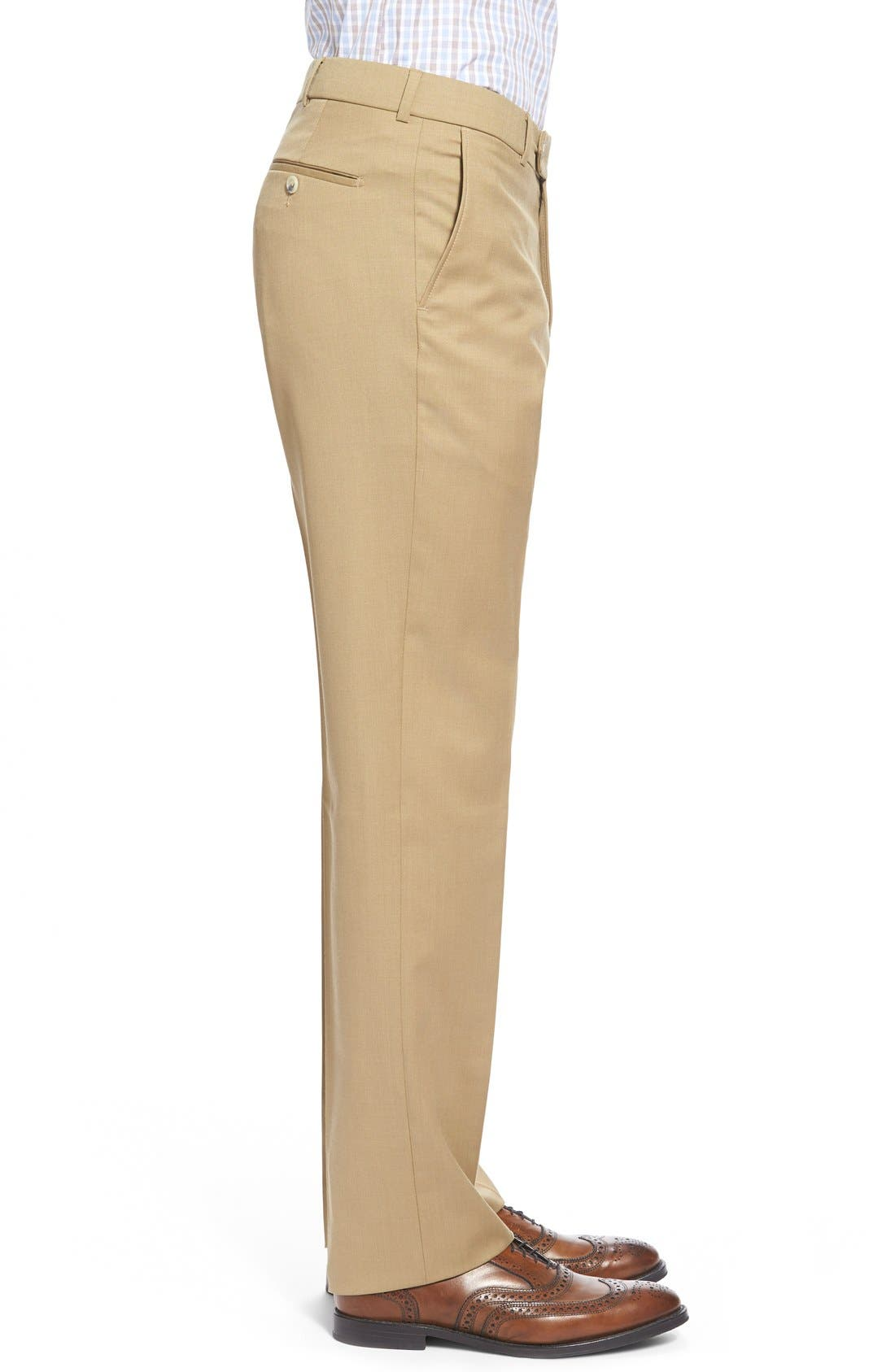 Flat Front Solid Wool Trousers,                             Alternate thumbnail 41, color,