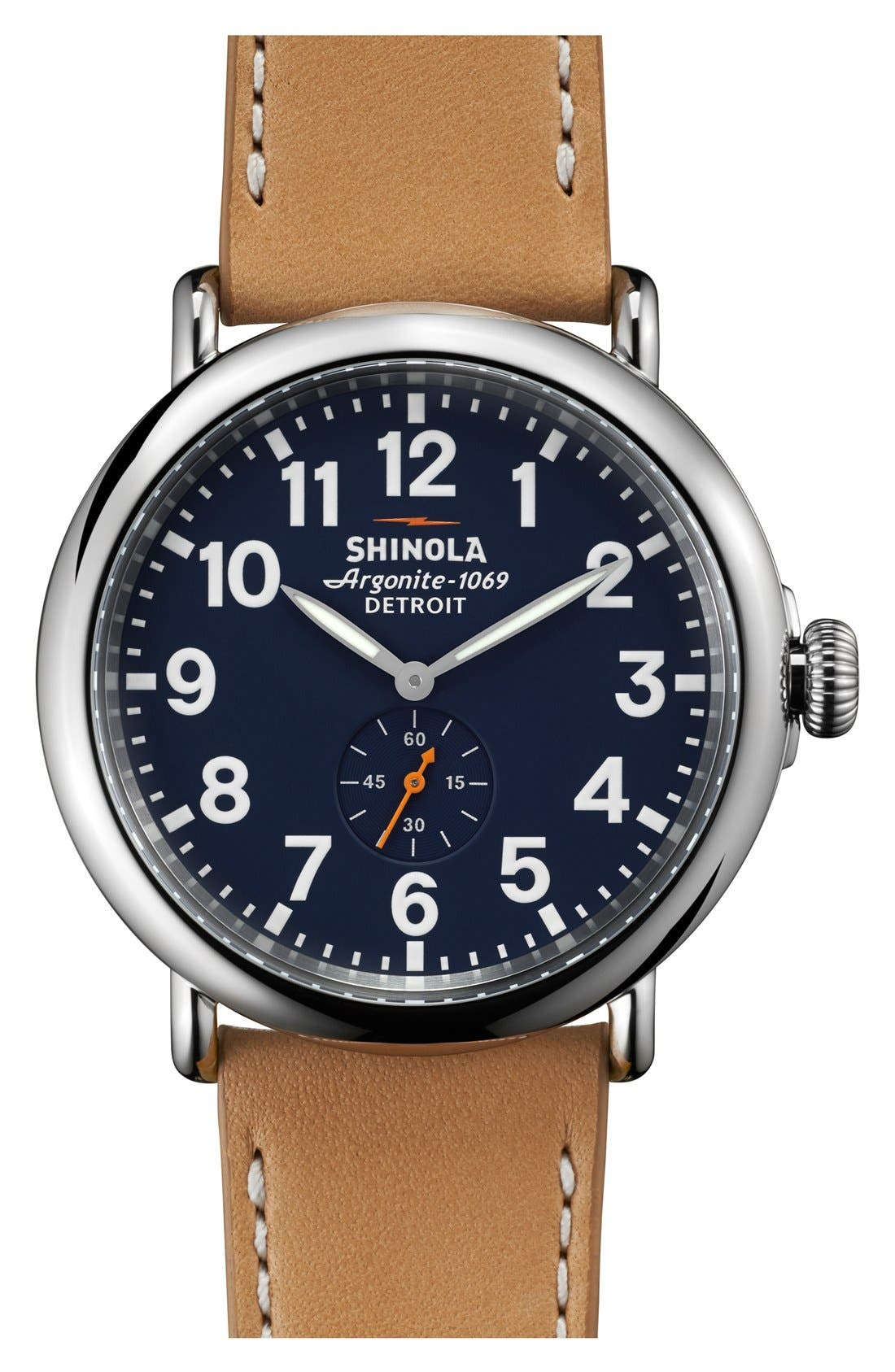 'The Runwell' Leather Strap Watch, 47mm,                         Main,                         color, MIDNIGHT BLUE/ NATURAL