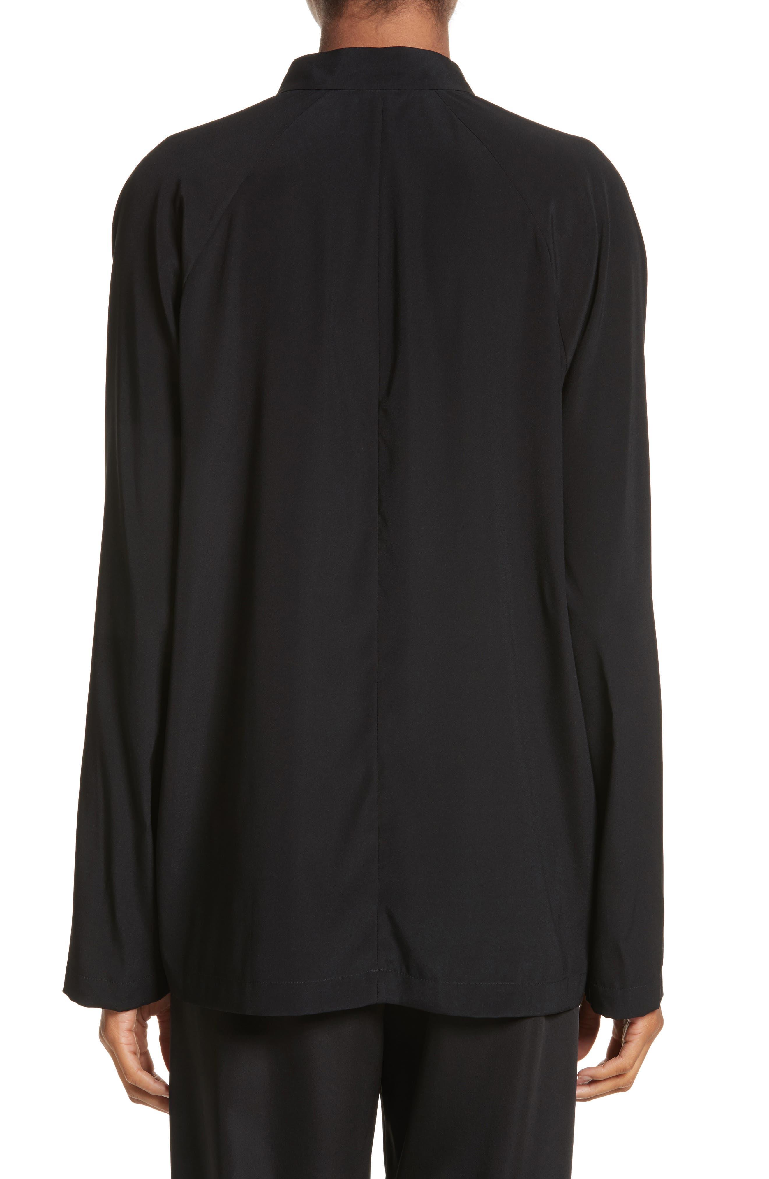 Drape Neck Stretch Silk Blouse,                             Alternate thumbnail 2, color,                             BLACK