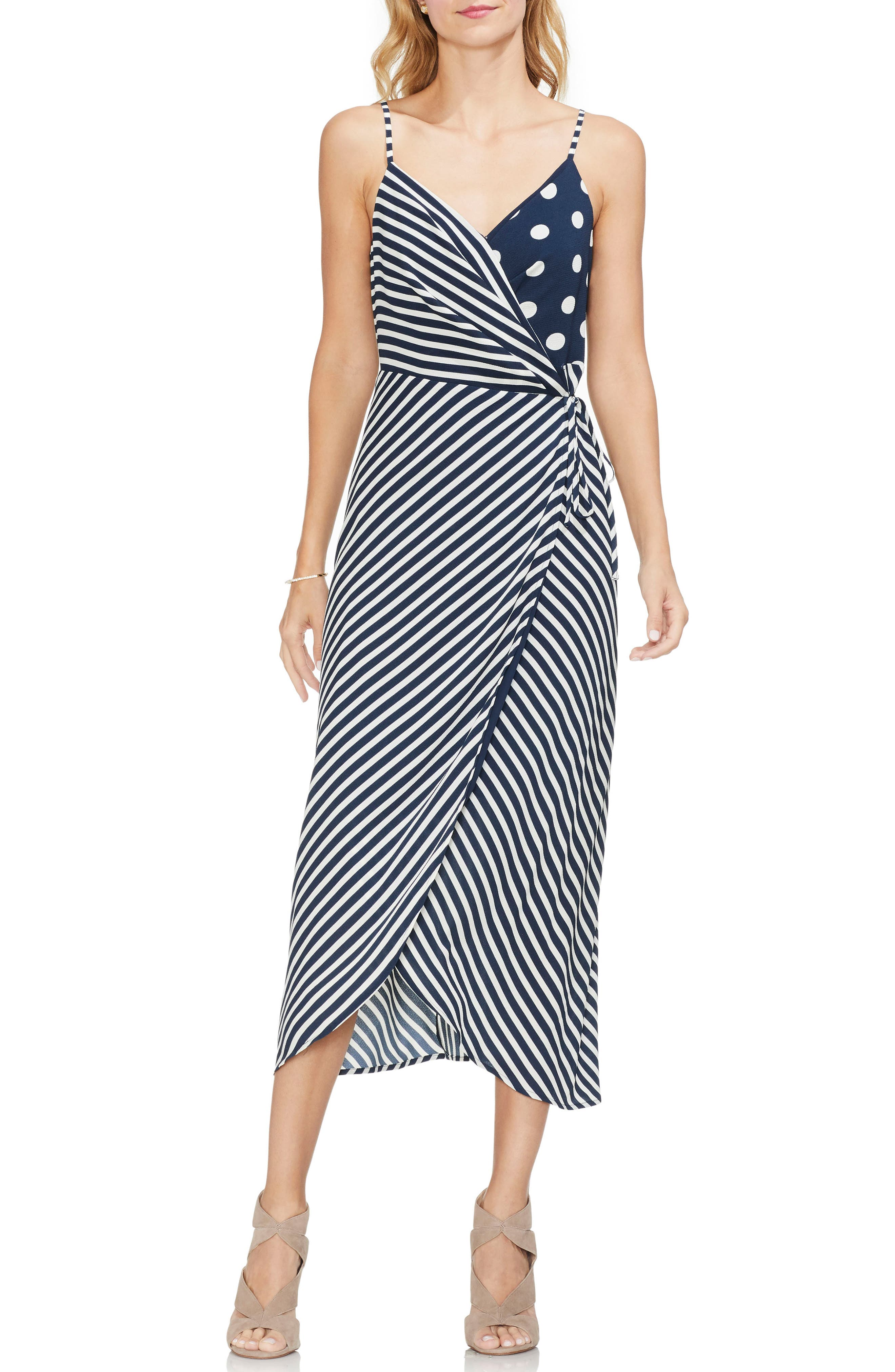 Vince Camuto Mixed Print Midi Dress