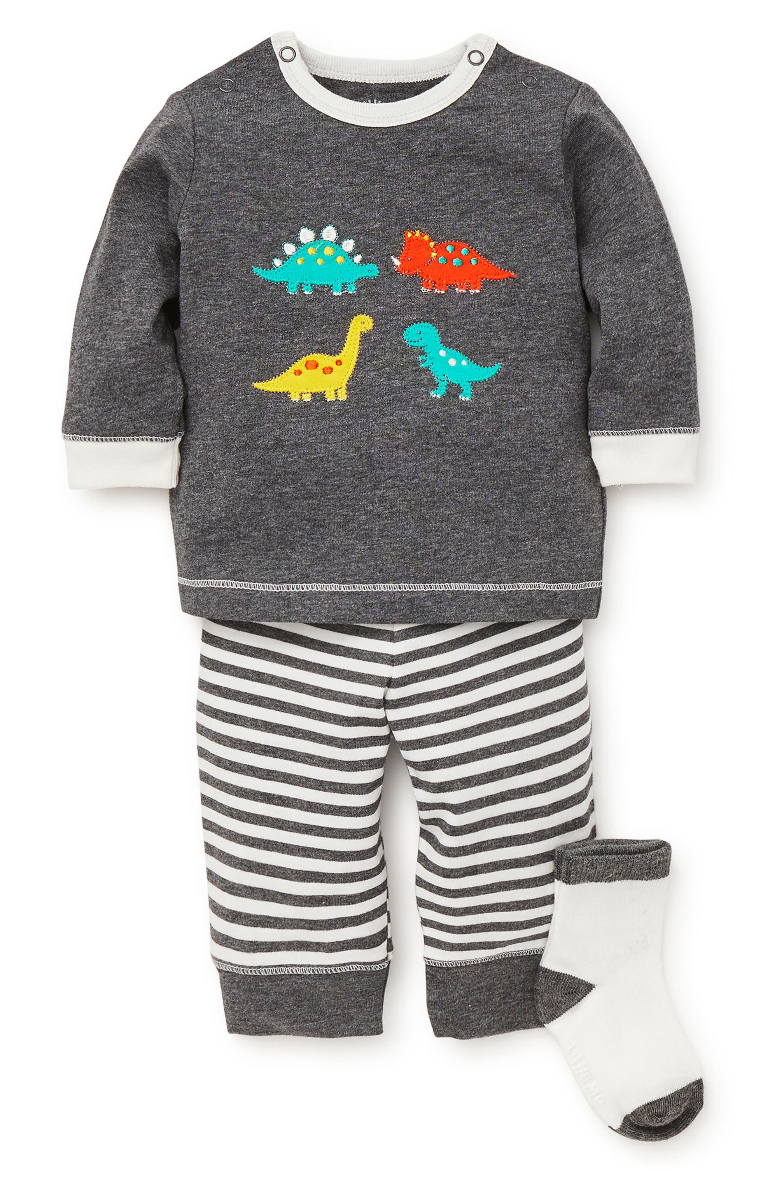 Fun Dinos Sweatshirt, Jogger Pants & Socks Set,                             Main thumbnail 1, color,                             GREY HEATHER MULTI