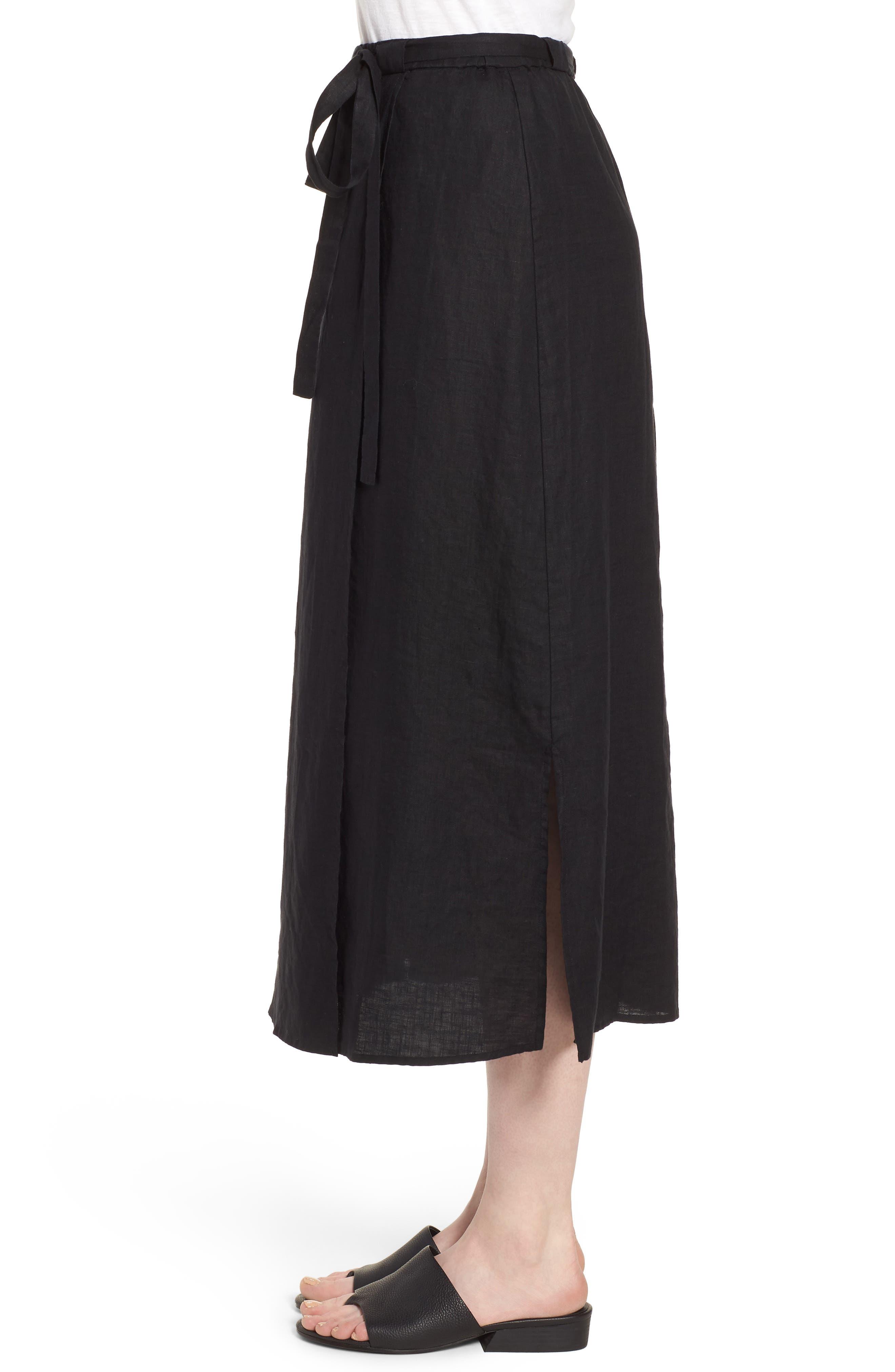 Faux Wrap Organic Linen Skirt,                             Alternate thumbnail 3, color,                             001